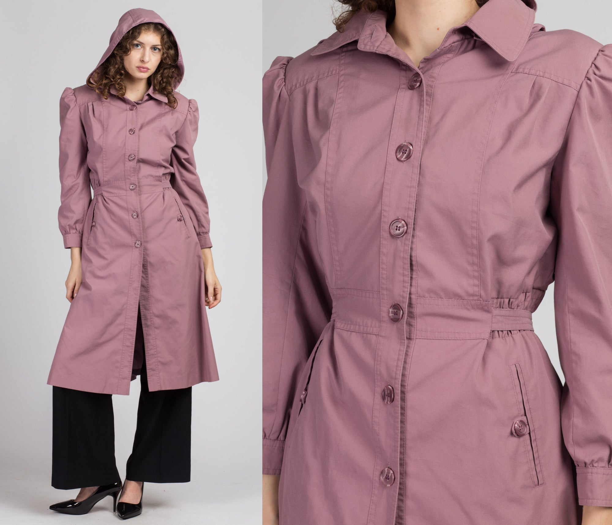 80s Mauve Puff Sleeve Hooded Trench Coat - Medium to Large