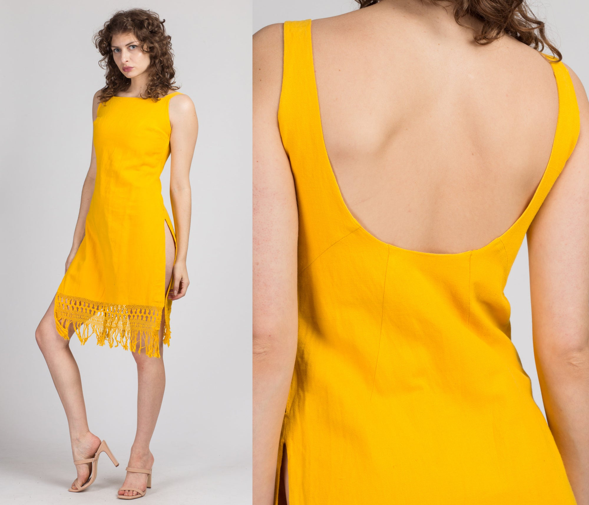 60s Yellow High Slit Fringe Mini Dress - Small