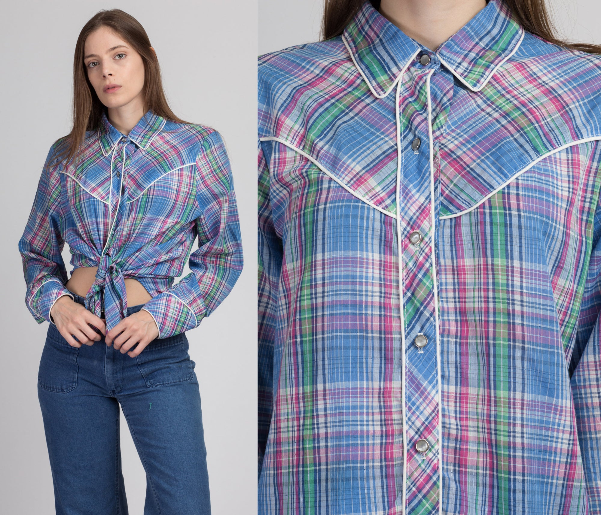 70s Plaid Western Blouse - Extra Large