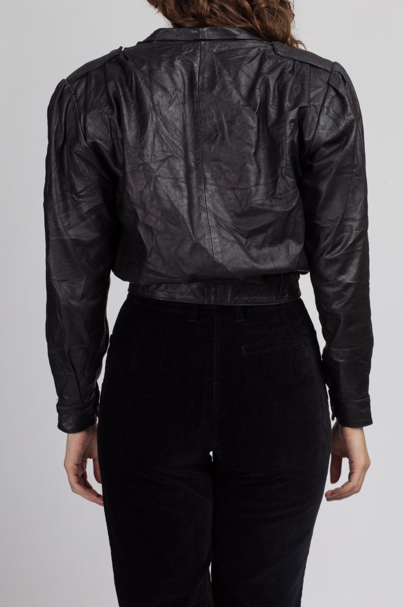 80s Cropped Black Leather Jacket - Small