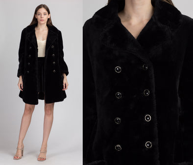 70s Black Faux Fur Teddy Coat - Medium