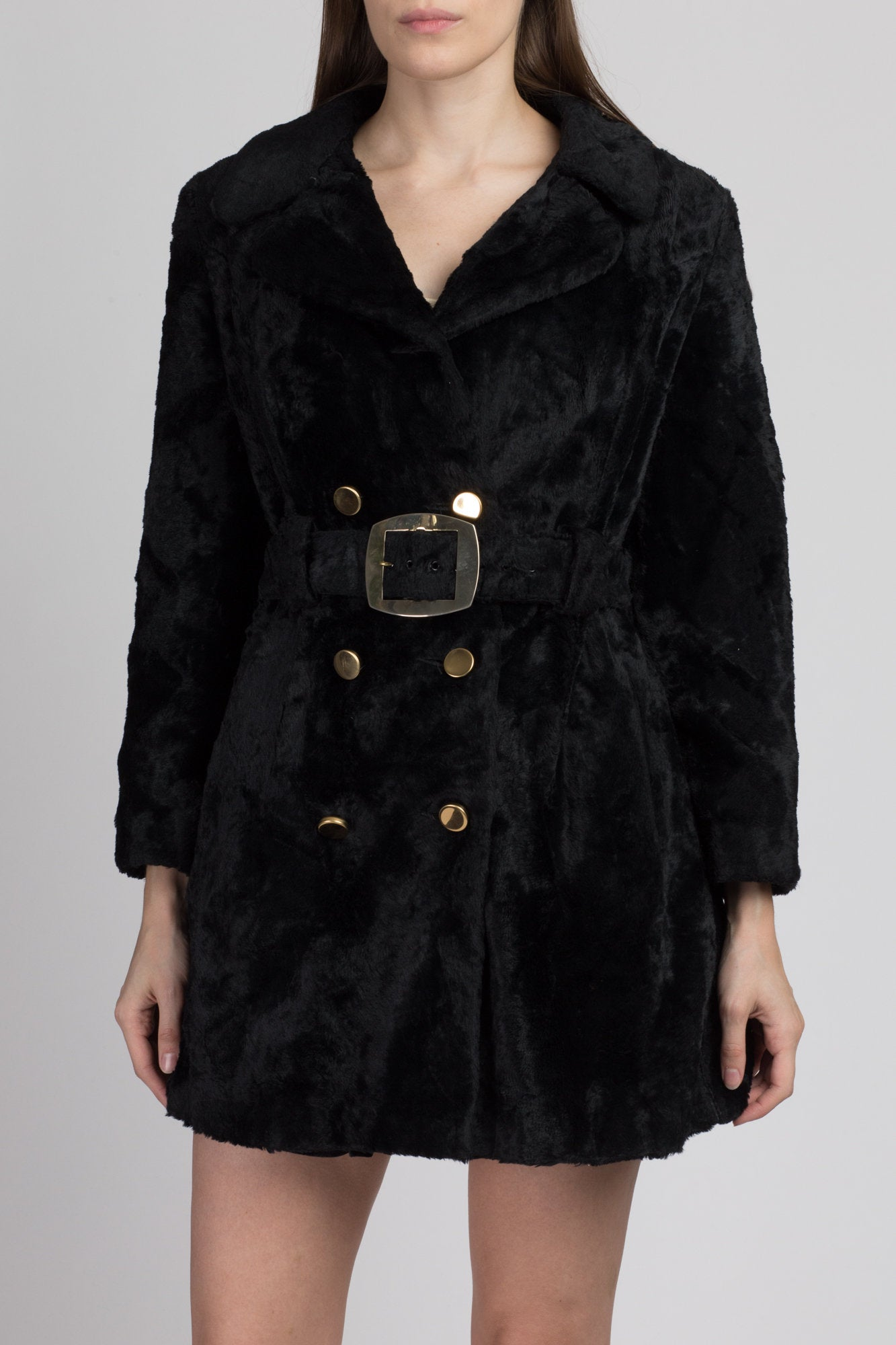 70s Belted Black Faux Fur Coat, As Is - Medium
