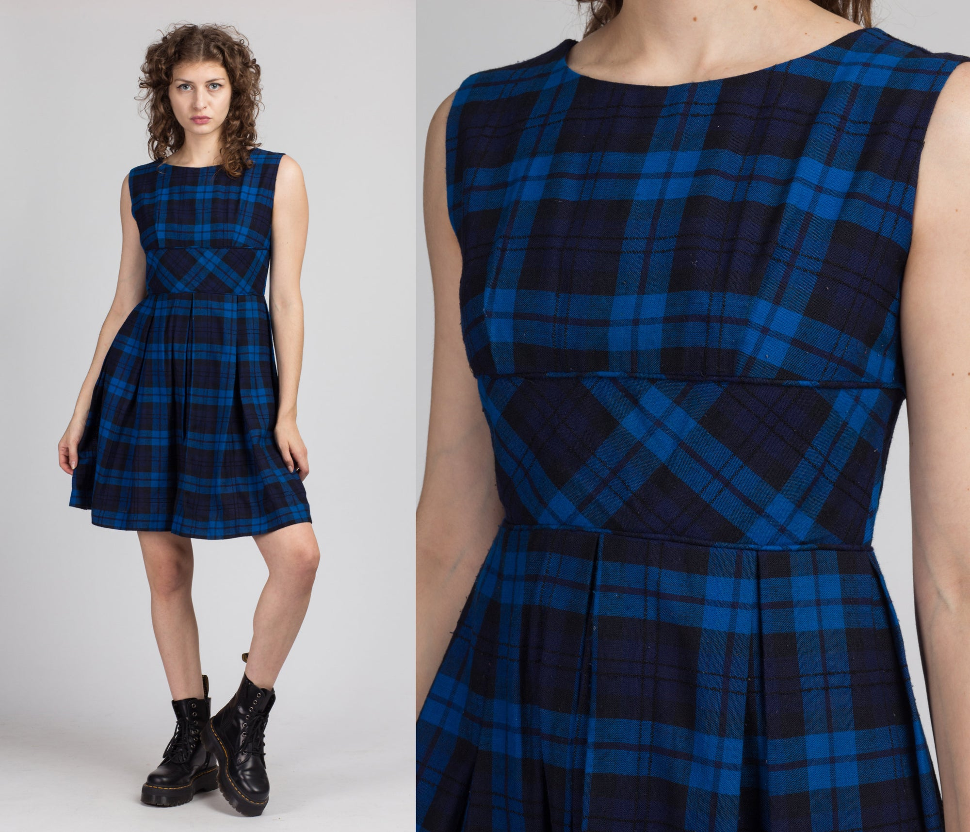 50s 60s Blue & Black Plaid Mini Dress - Small