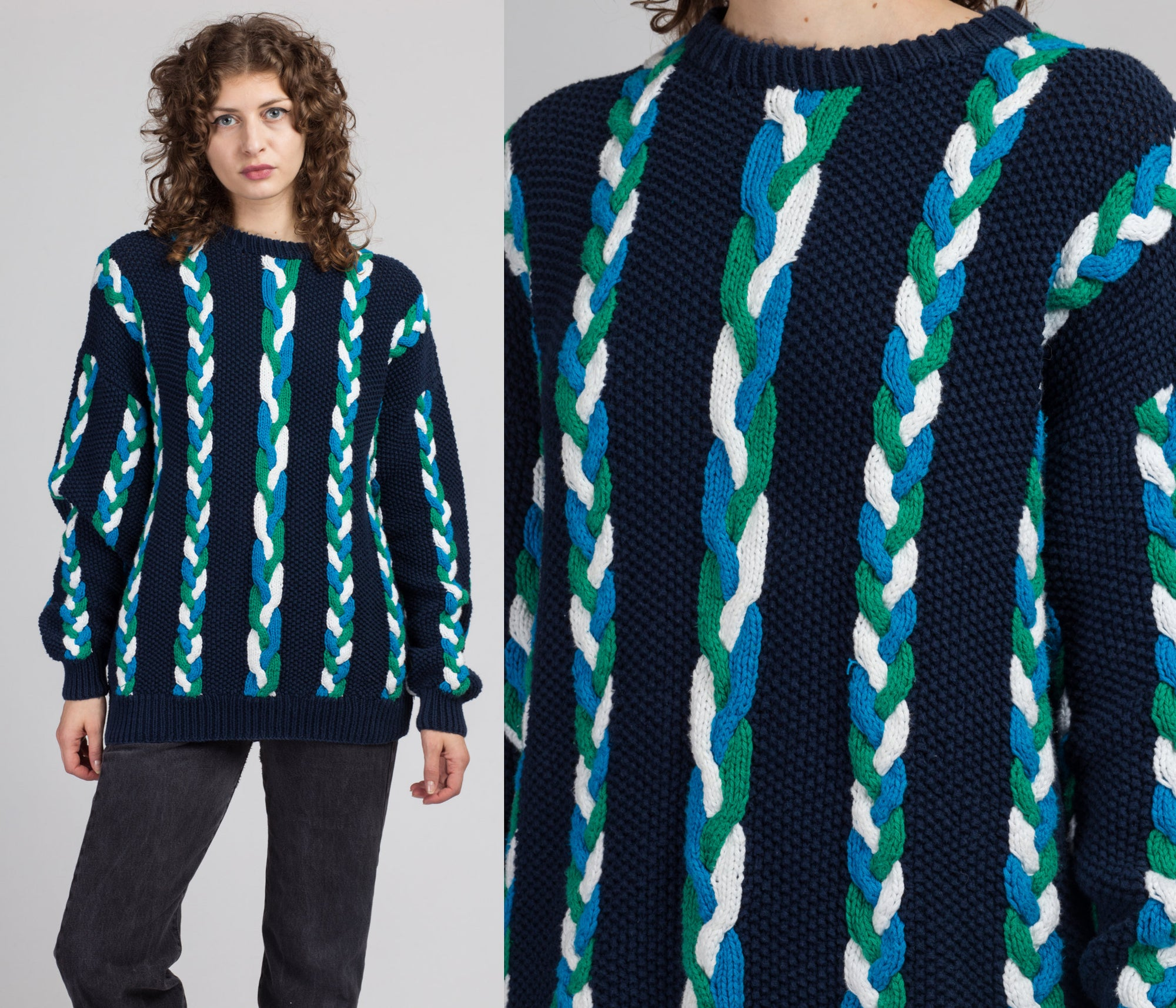 90s Blue Striped Cable Knit Sweater - Men's Medium