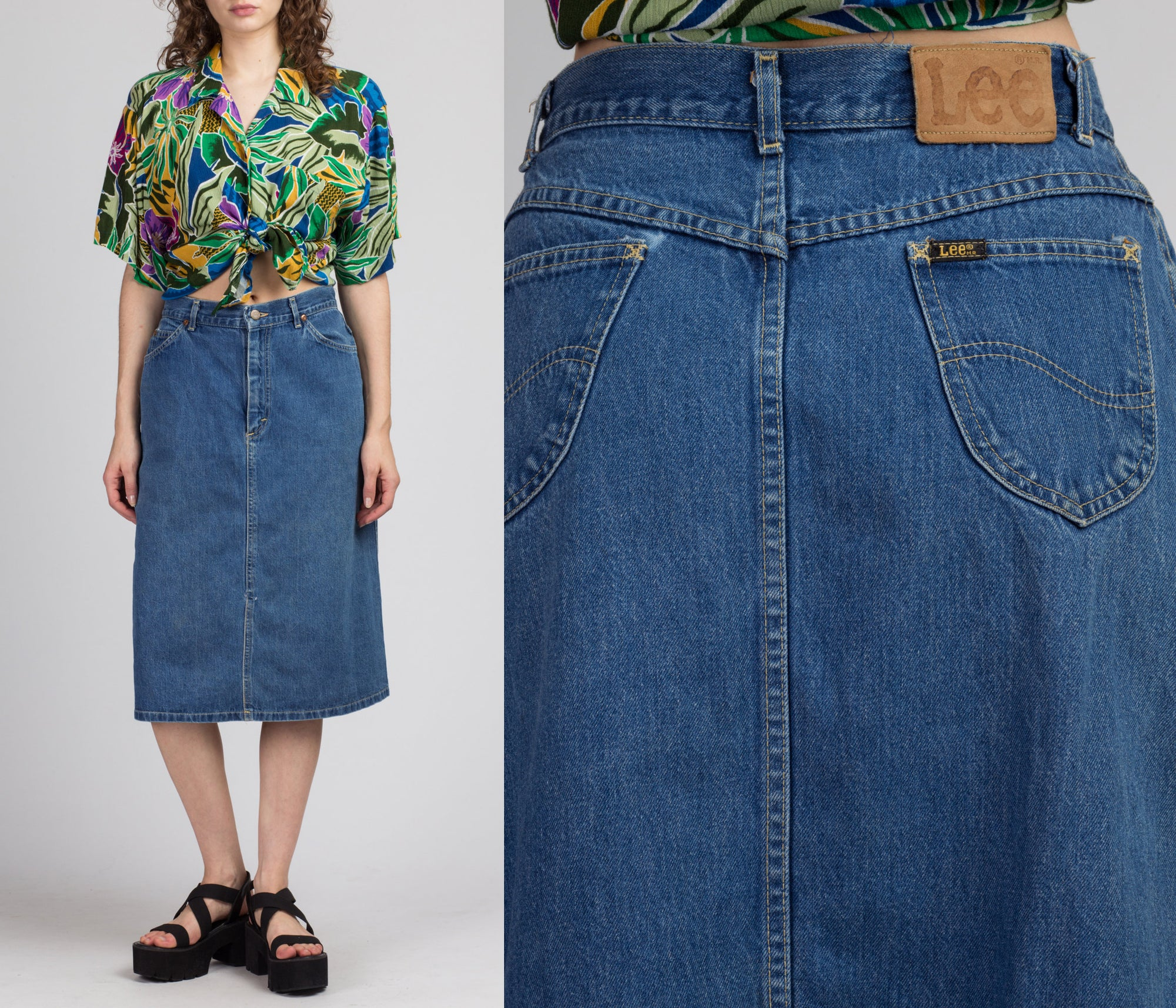 90s Lee Denim Midi Skirt - Medium