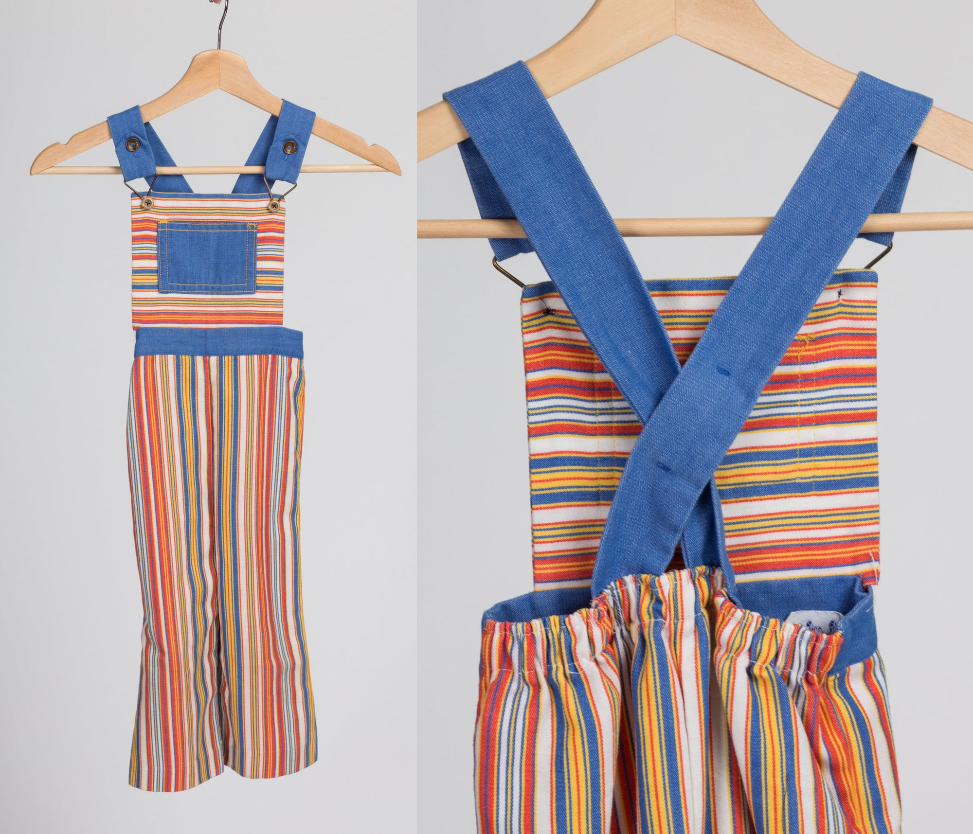 70s Striped Toddler Overalls - Size 2T