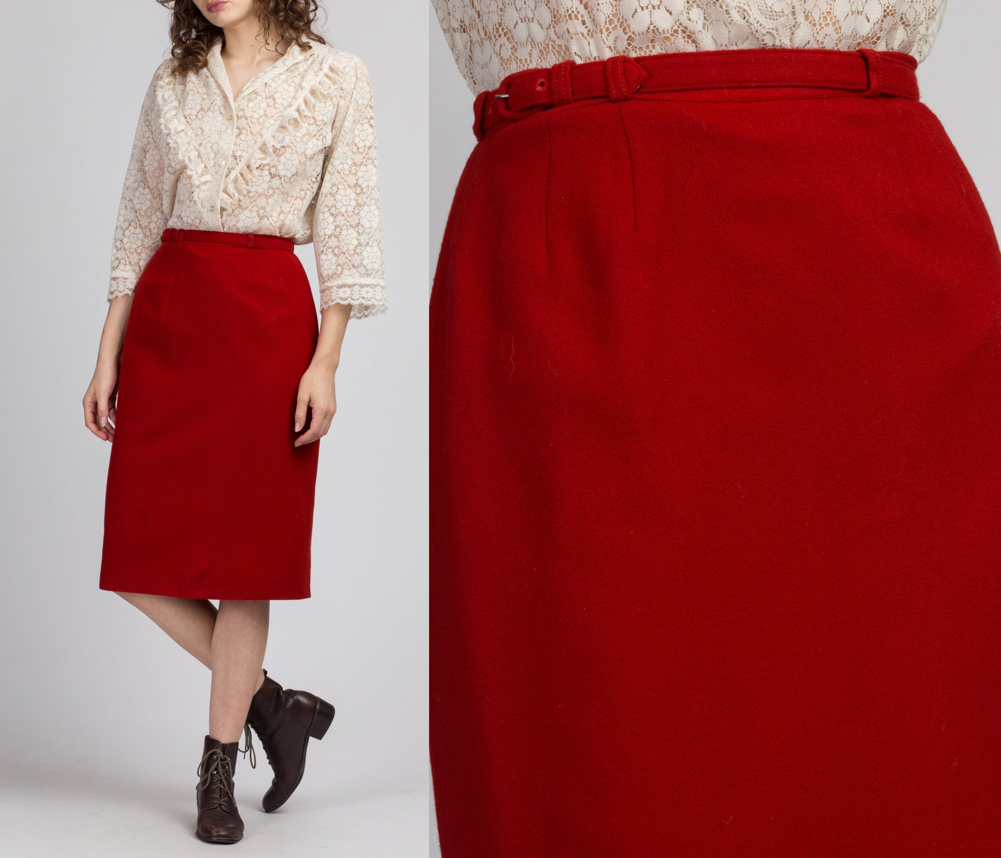 70s Burnt Orange Belted Midi Skirt - Small