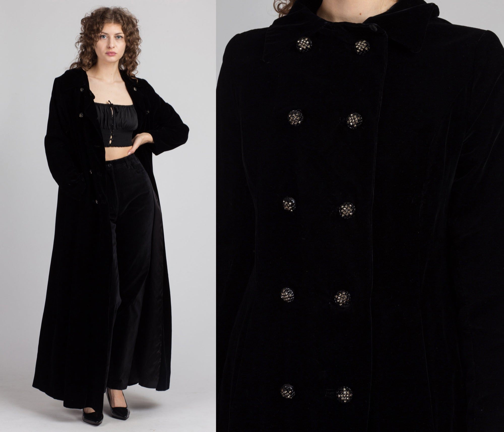 Vintage 1950s Long Black Velvet Coat - Medium