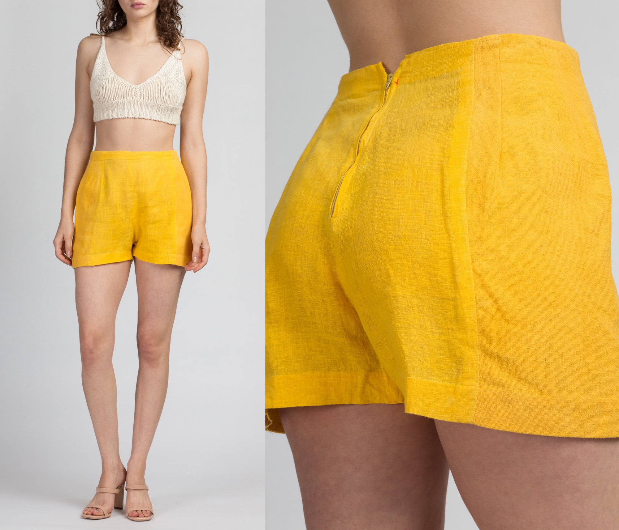 60s 70s Yellow Linen Shorts - Medium, 28""