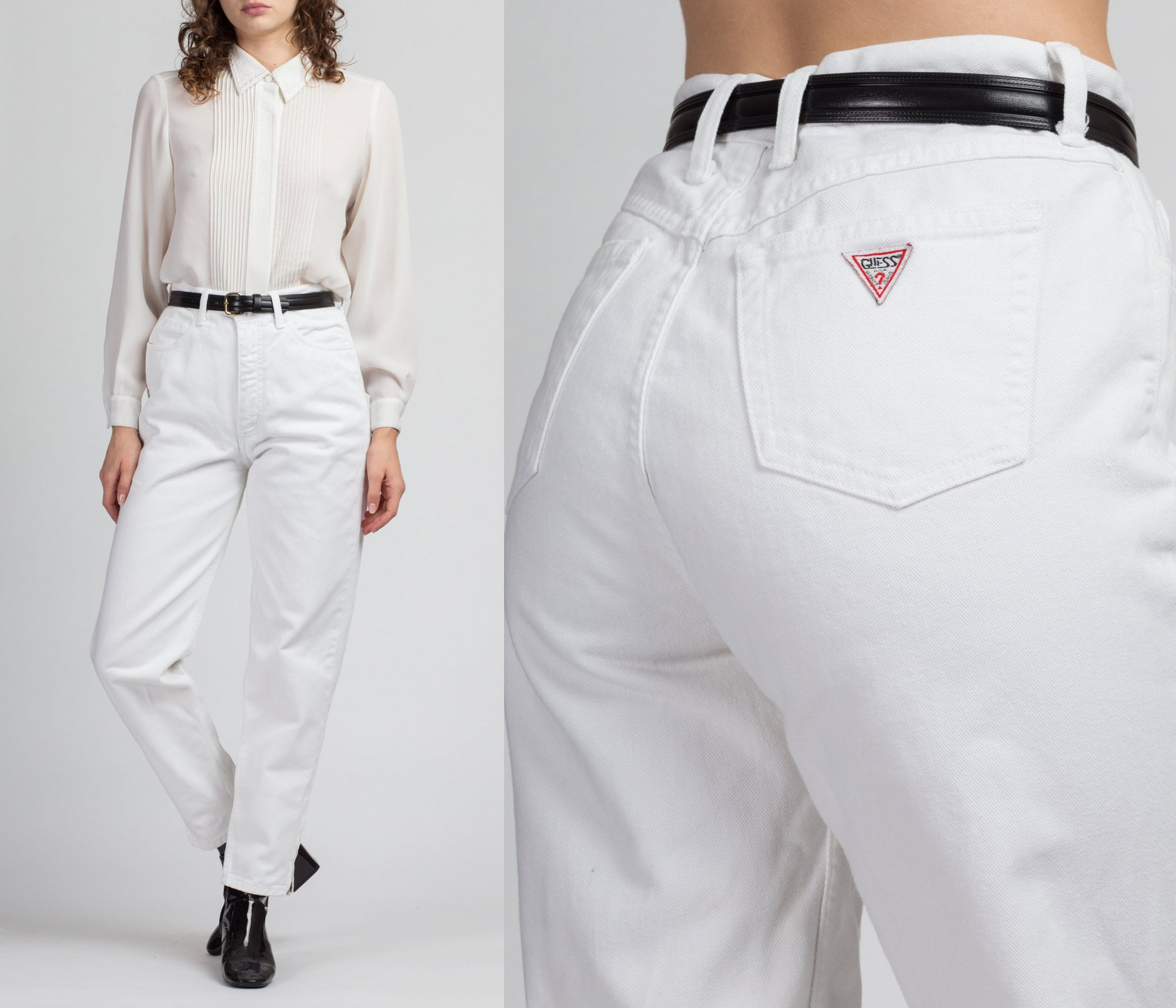 Vintage High Waist White Guess Jeans - Medium, 29""
