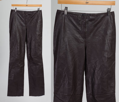 90s Kenneth Cole Chocolate Brown Leather Pants - Extra Small to Petite Small