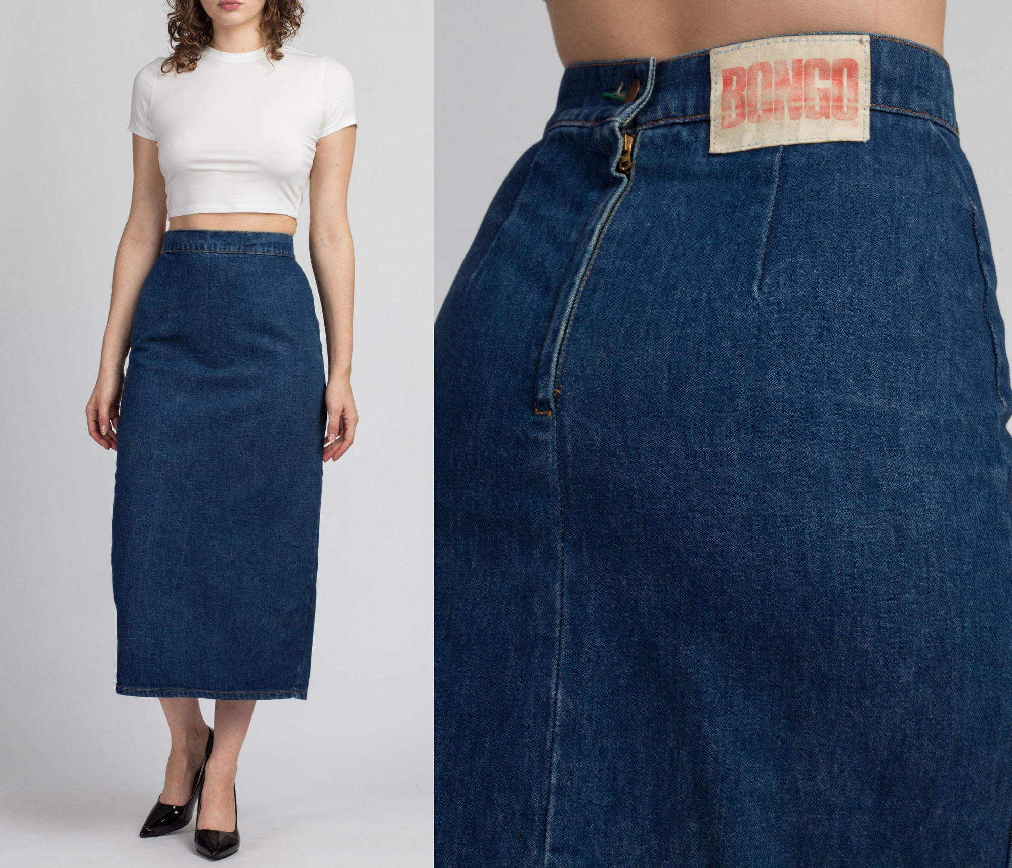 90s Bongo Denim High Waisted Midi Skirt - Small