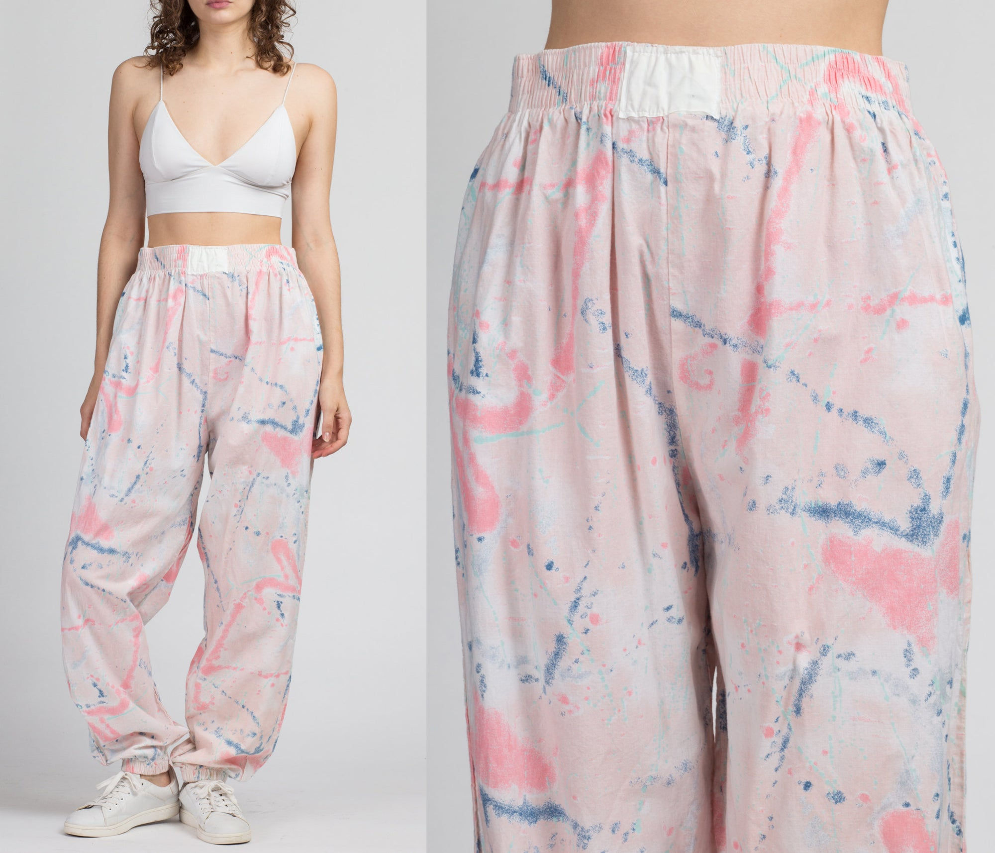 80s 90s Paint Splatter Joggers - Extra Large