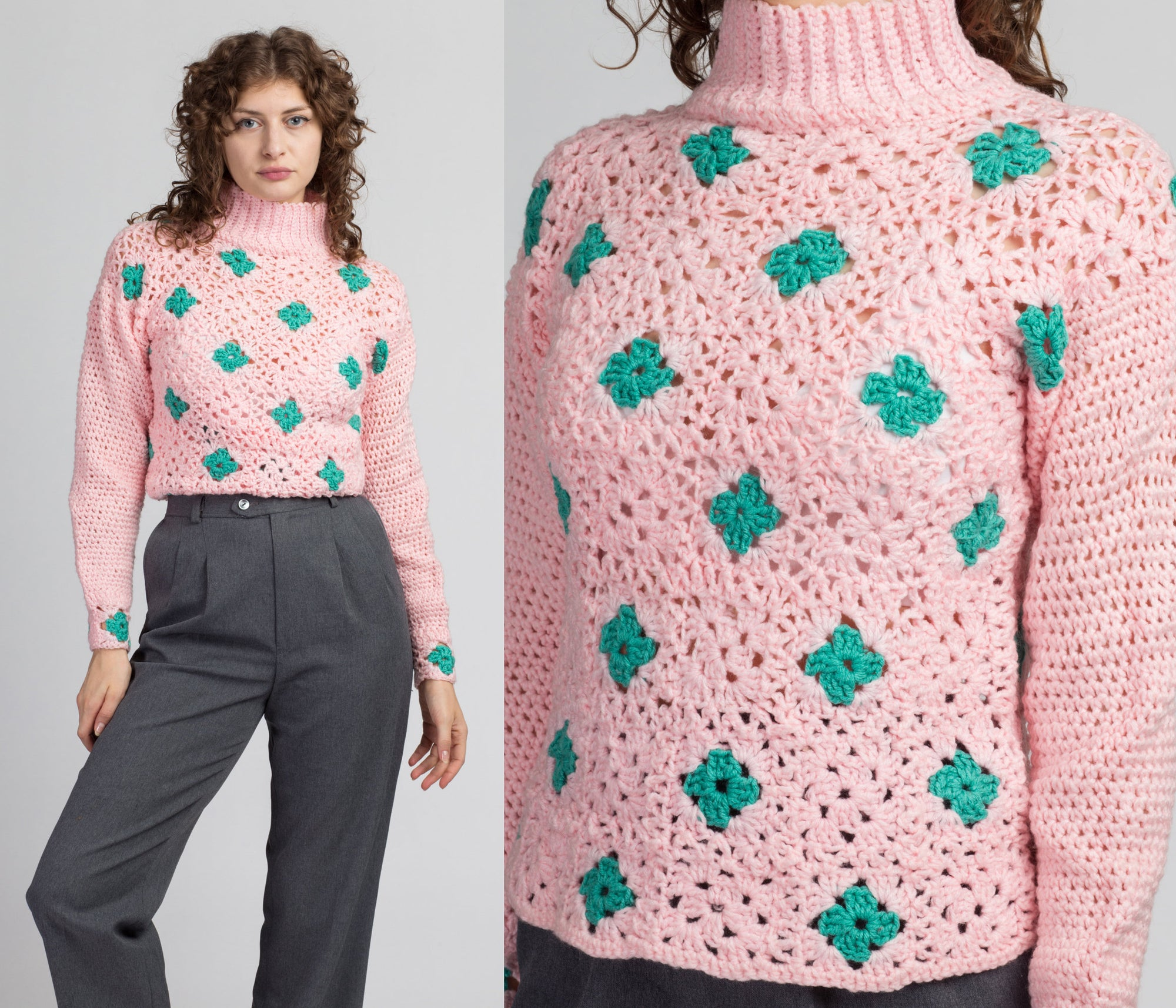 Vintage Pink Crochet Knit Turtleneck Sweater - Small to Medium