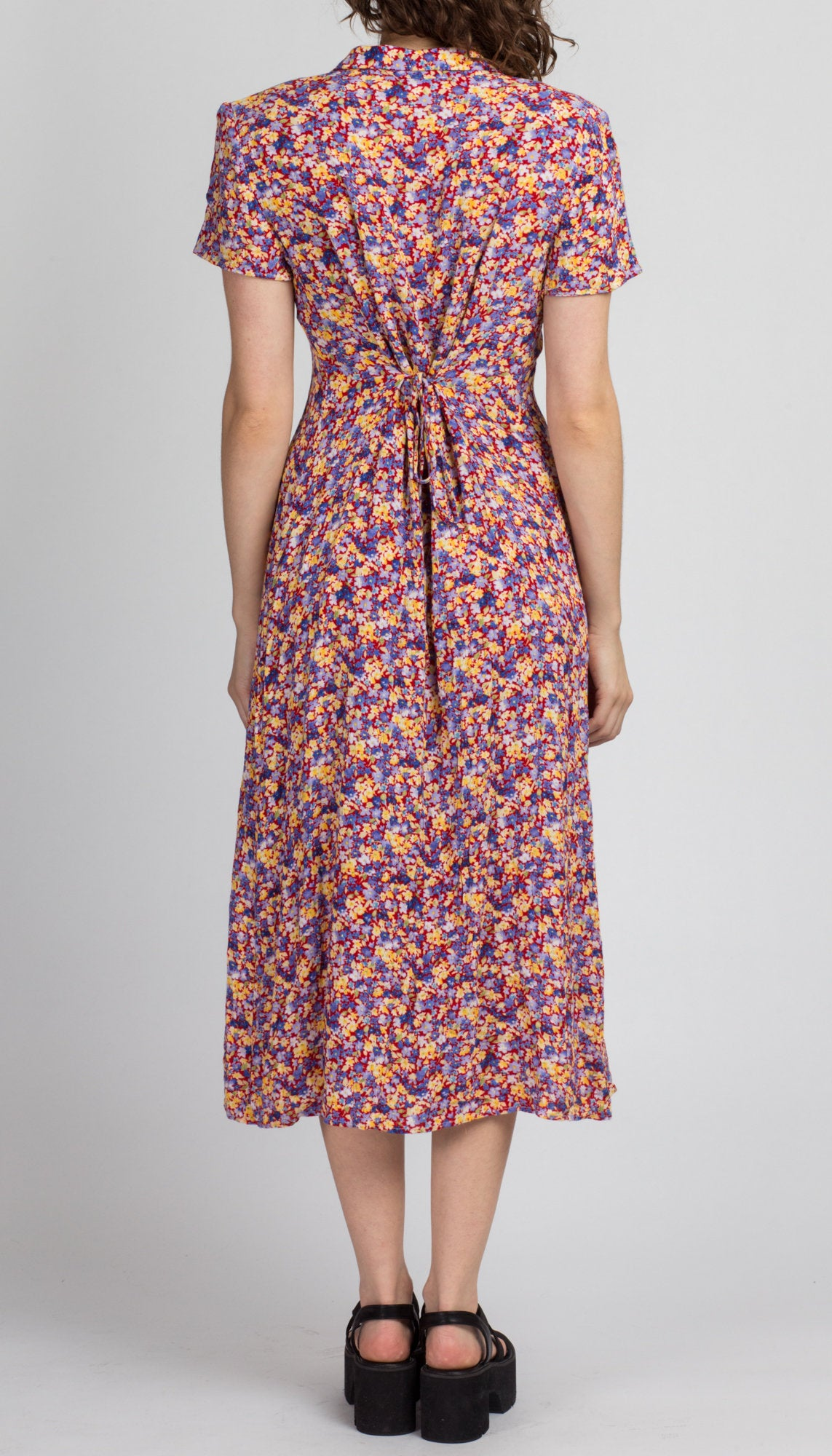 Vintage Red & Purple Floral Grunge Dress - Medium