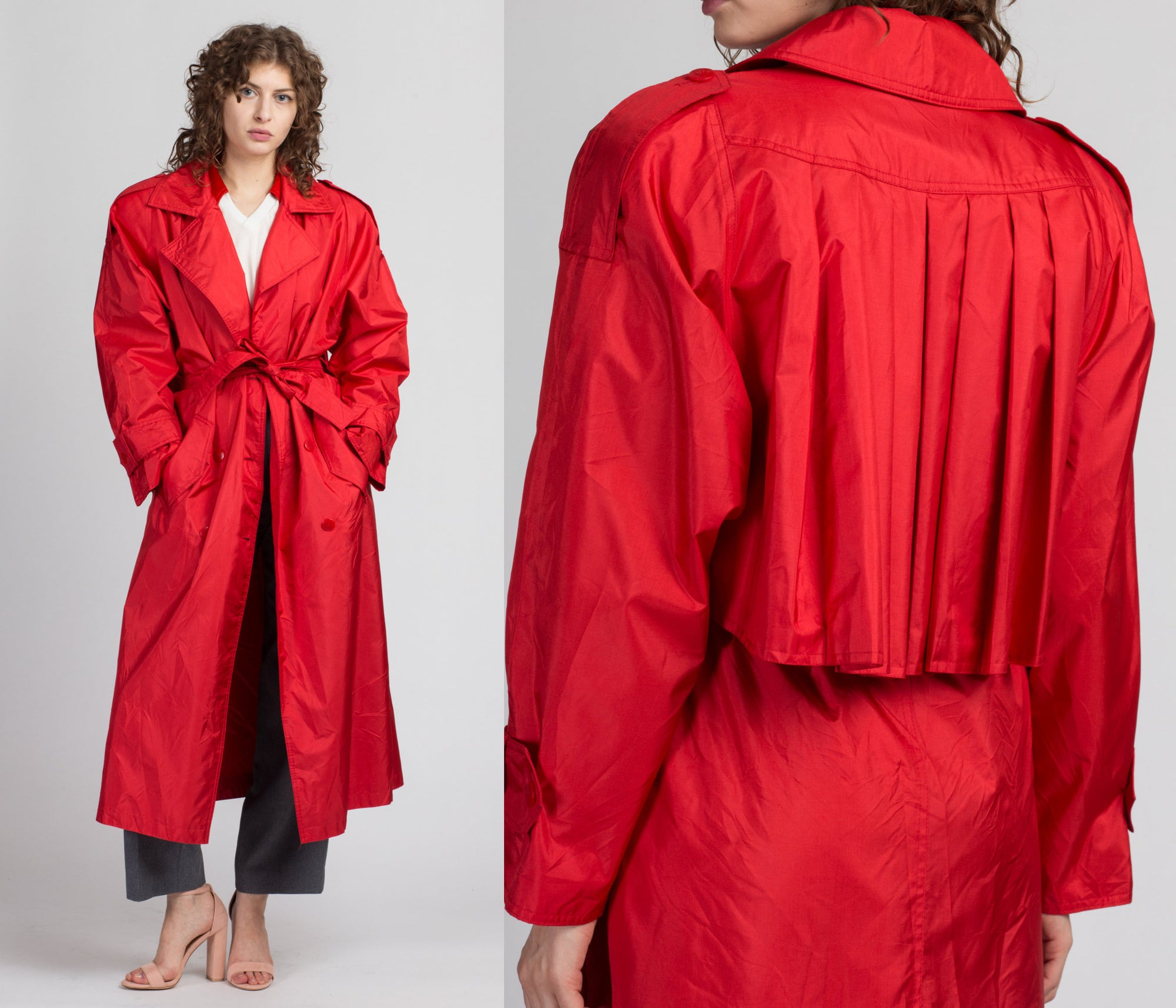 Vintage Red J. Gallery Trench Coat - Large