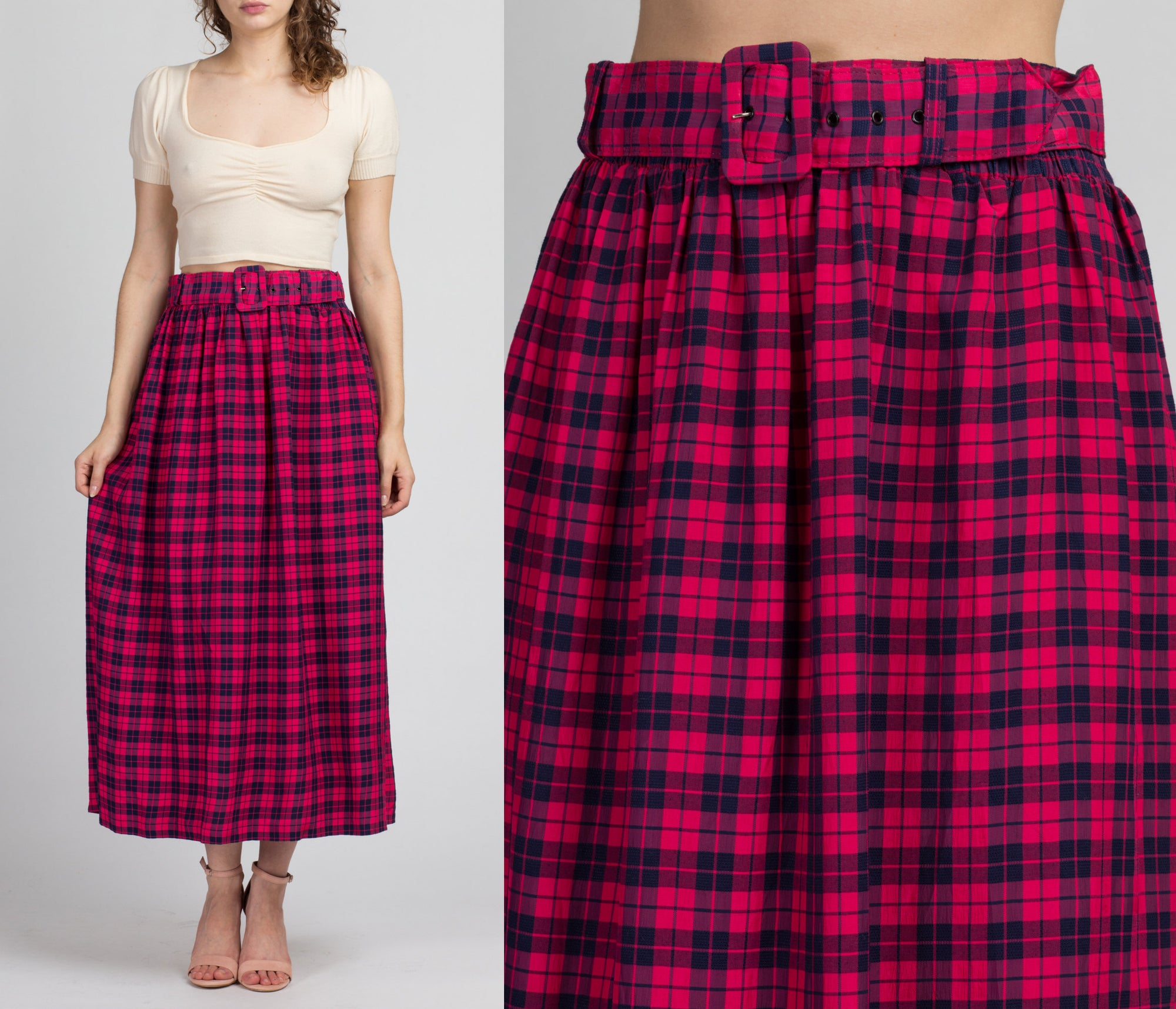 80s Plaid Belted Maxi Hostess Skirt - Large
