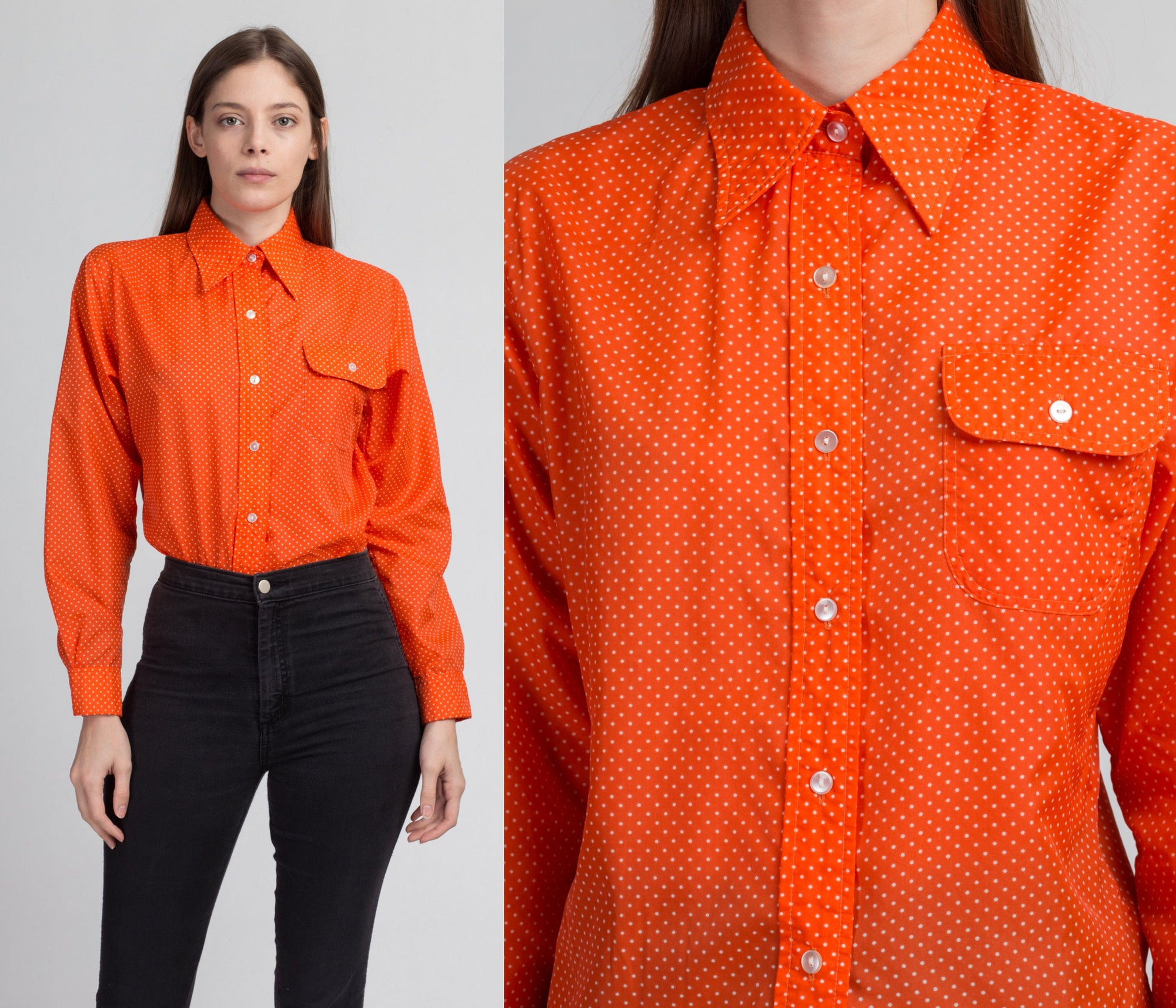 70s Orange Polka Dot Saska Ski Shirt - Large