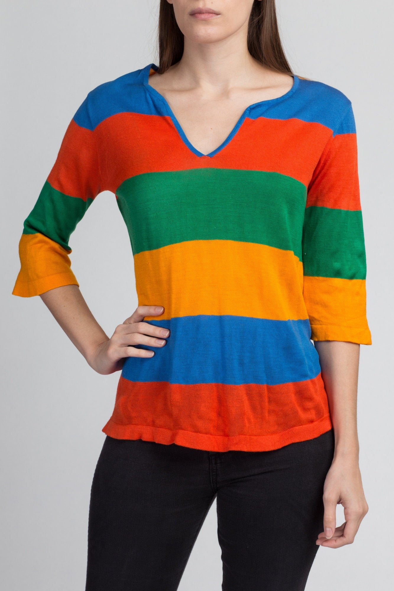 Retro 70s Striped Knit Top - Large