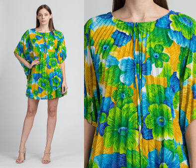 60s Floral Pleated Micro Mini Caftan Dress - One Size