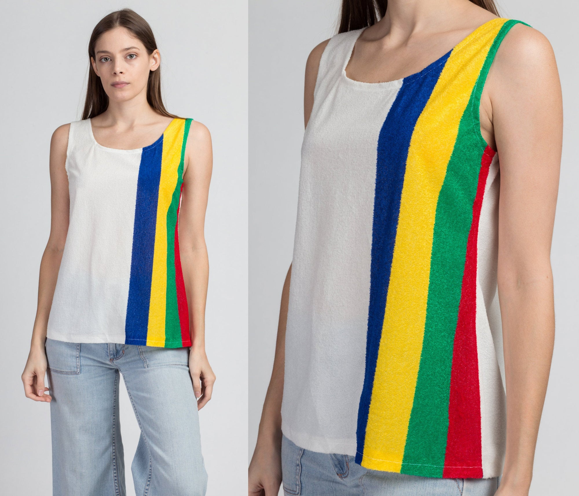 70s Striped Terrycloth Tank Top - Medium