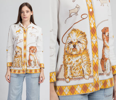 70s Dog Novelty Print Button Up Top - Small