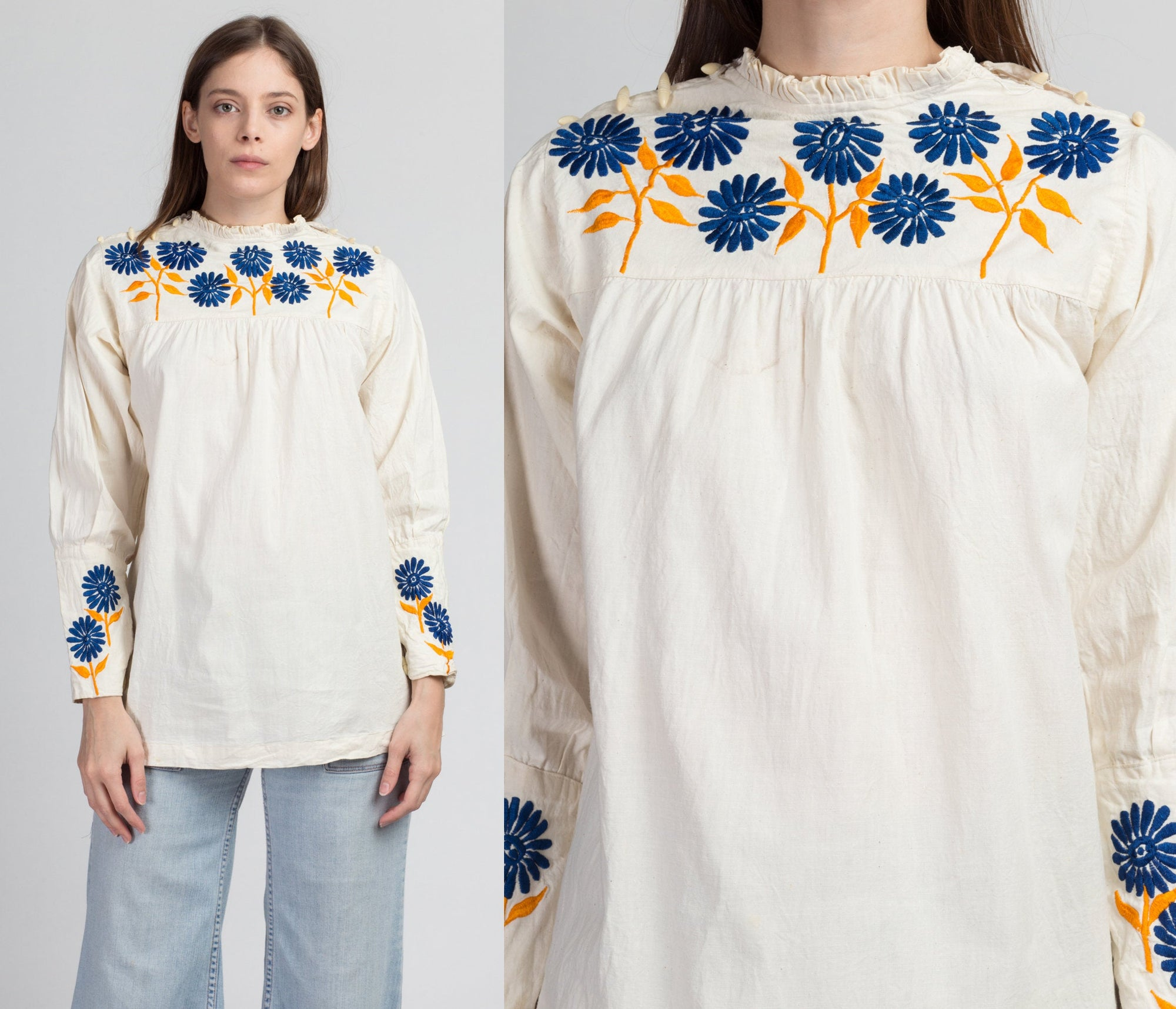 Vintage Embroidered Tunic Peasant Shirt - Medium
