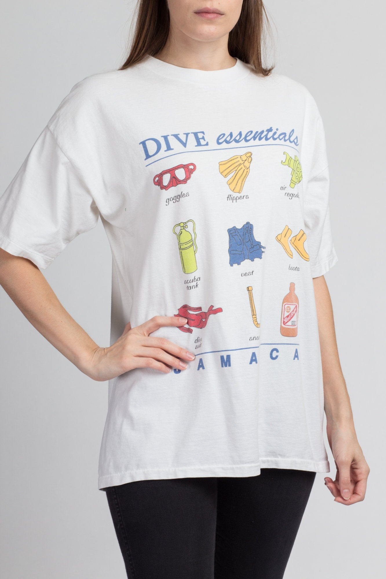 "Vintage Jamaica ""Dive Essentials"" Red Stripe Beer T Shirt - Large"