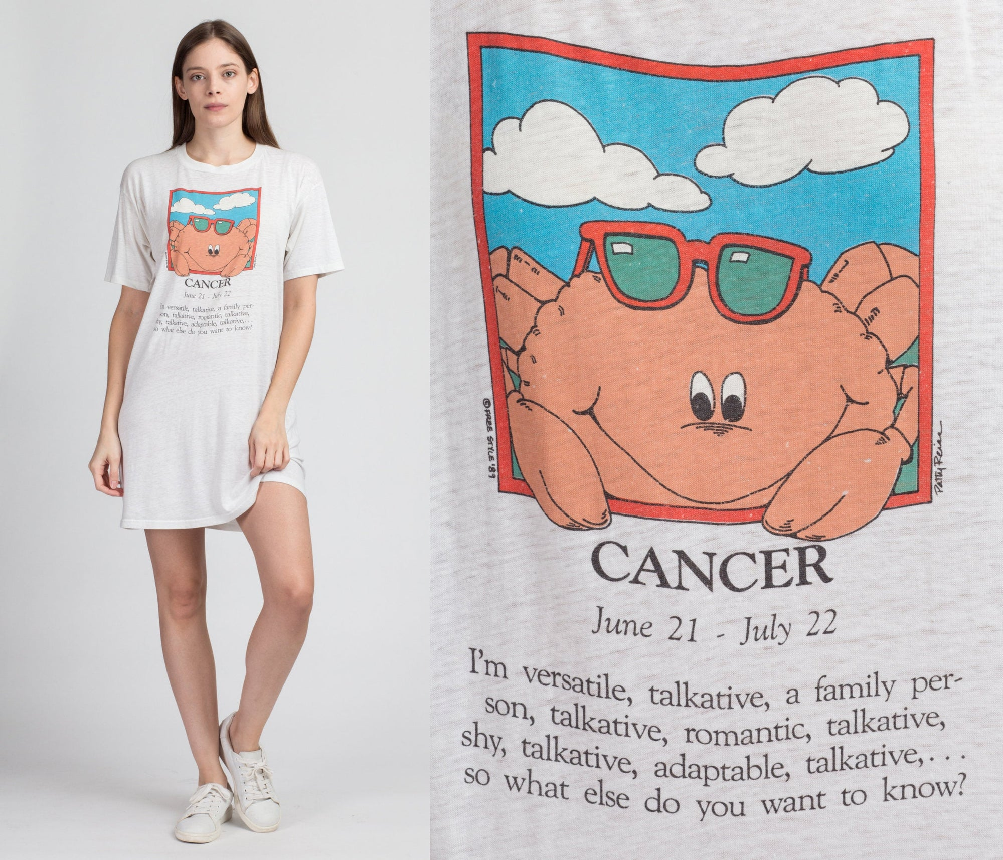 80s Astrology Cancer The Crab Sleep Shirt - One Size