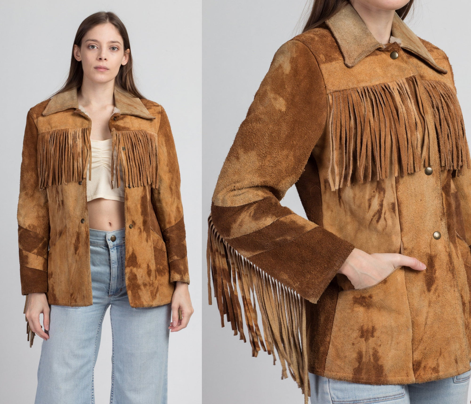 60s 70s Brown Suede Fringe Jacket - Men's XS, Women's Small