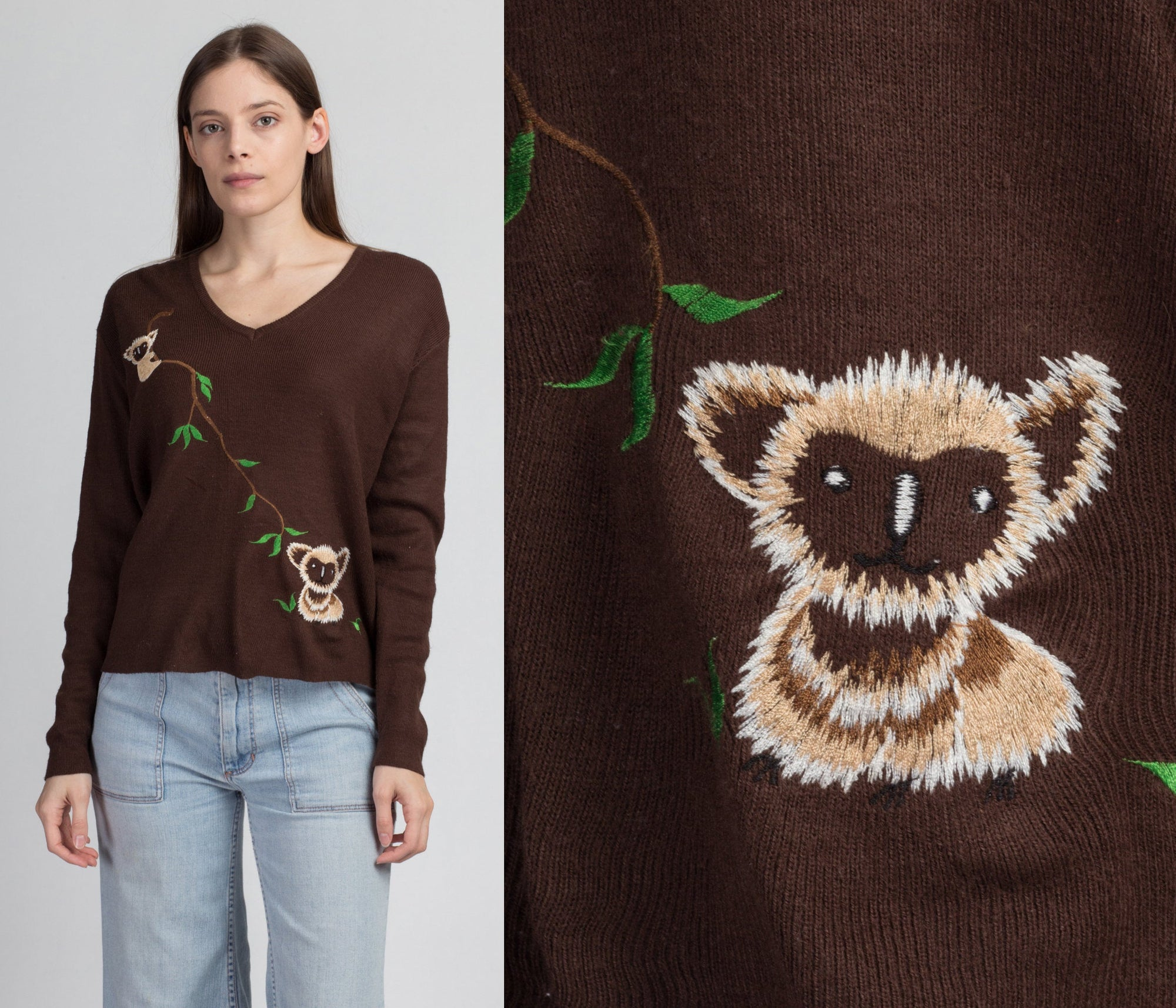 70s Embroidered Koala Bear Sweater - Extra Large