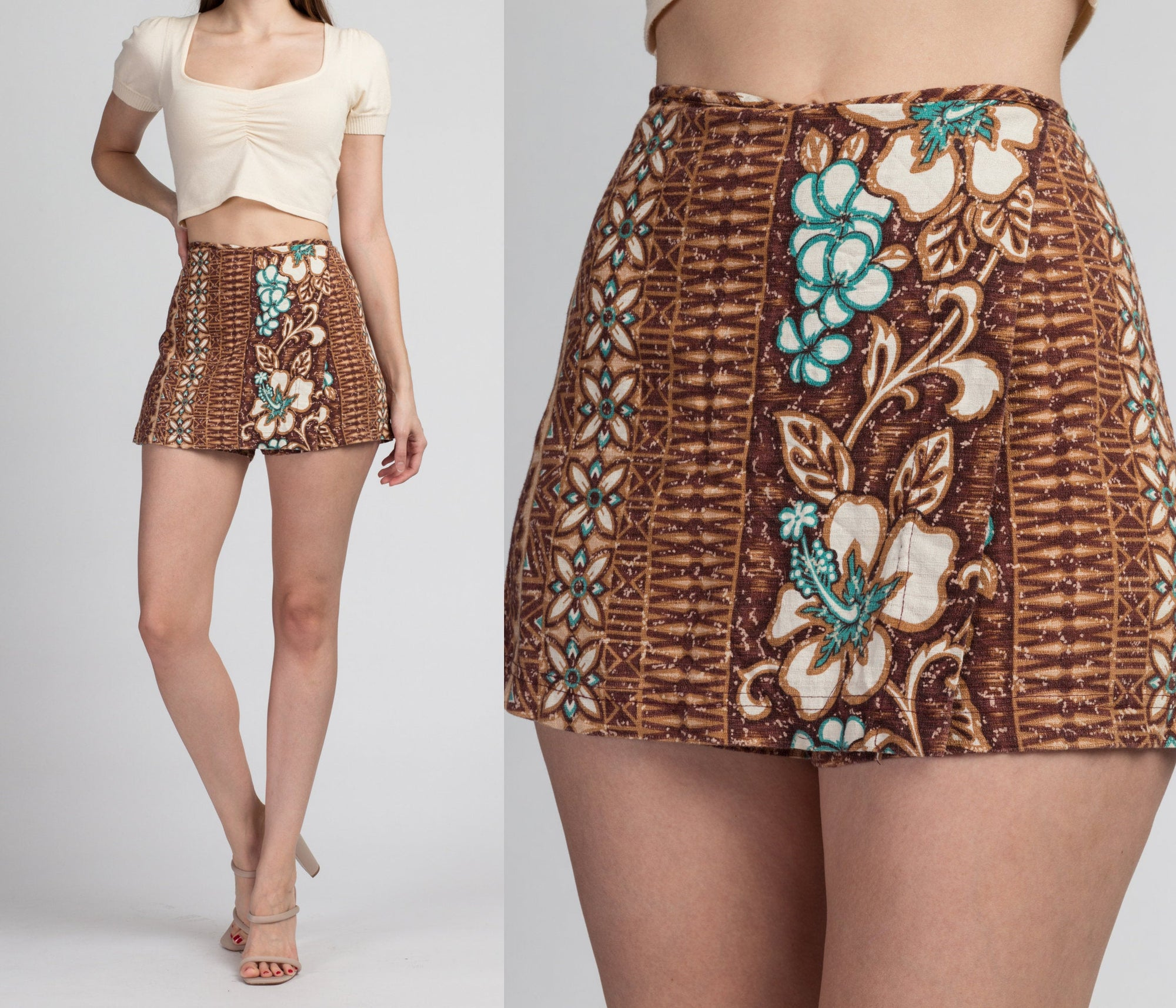 Vintage Hawaiian Floral Mini Skort - Large
