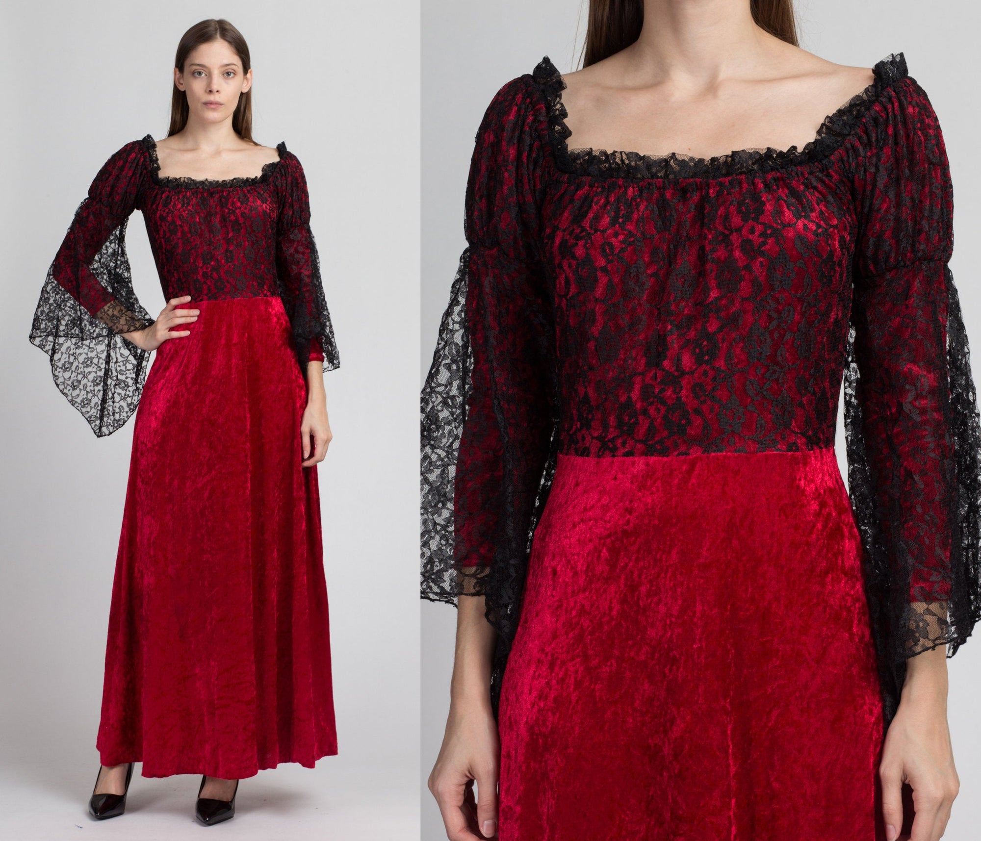 Gothic Victorian Red Velvet & Black Lace Maxi Dress - Small