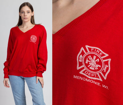 80s Red Fire Department Sweater - Extra Large