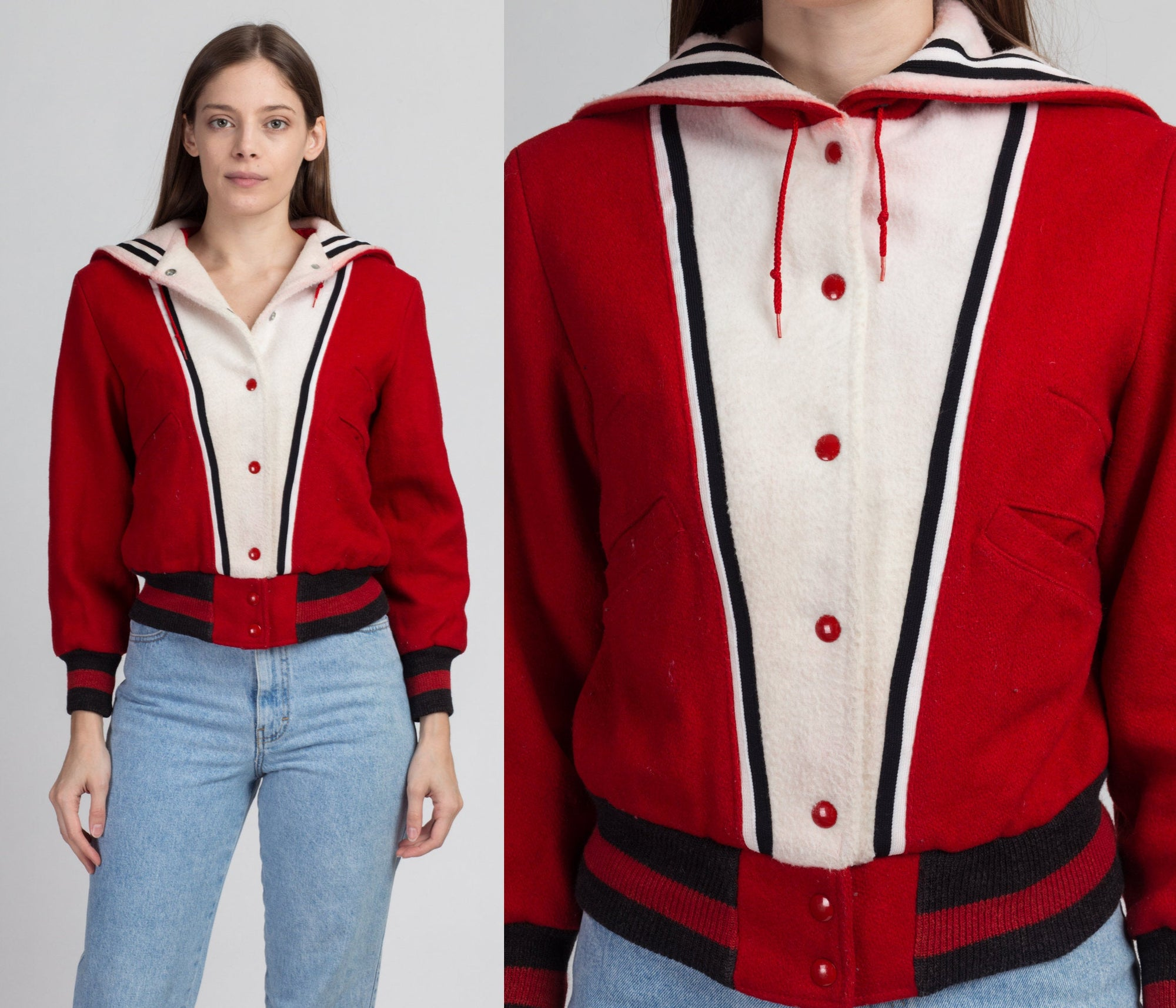 60s Red & White Cropped Letterman Jacket - Extra Small