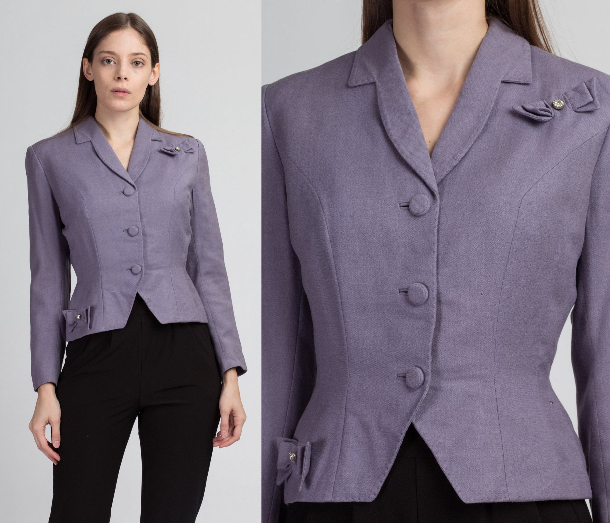 1940s Lilac Purple Cropped Blazer - Extra Small