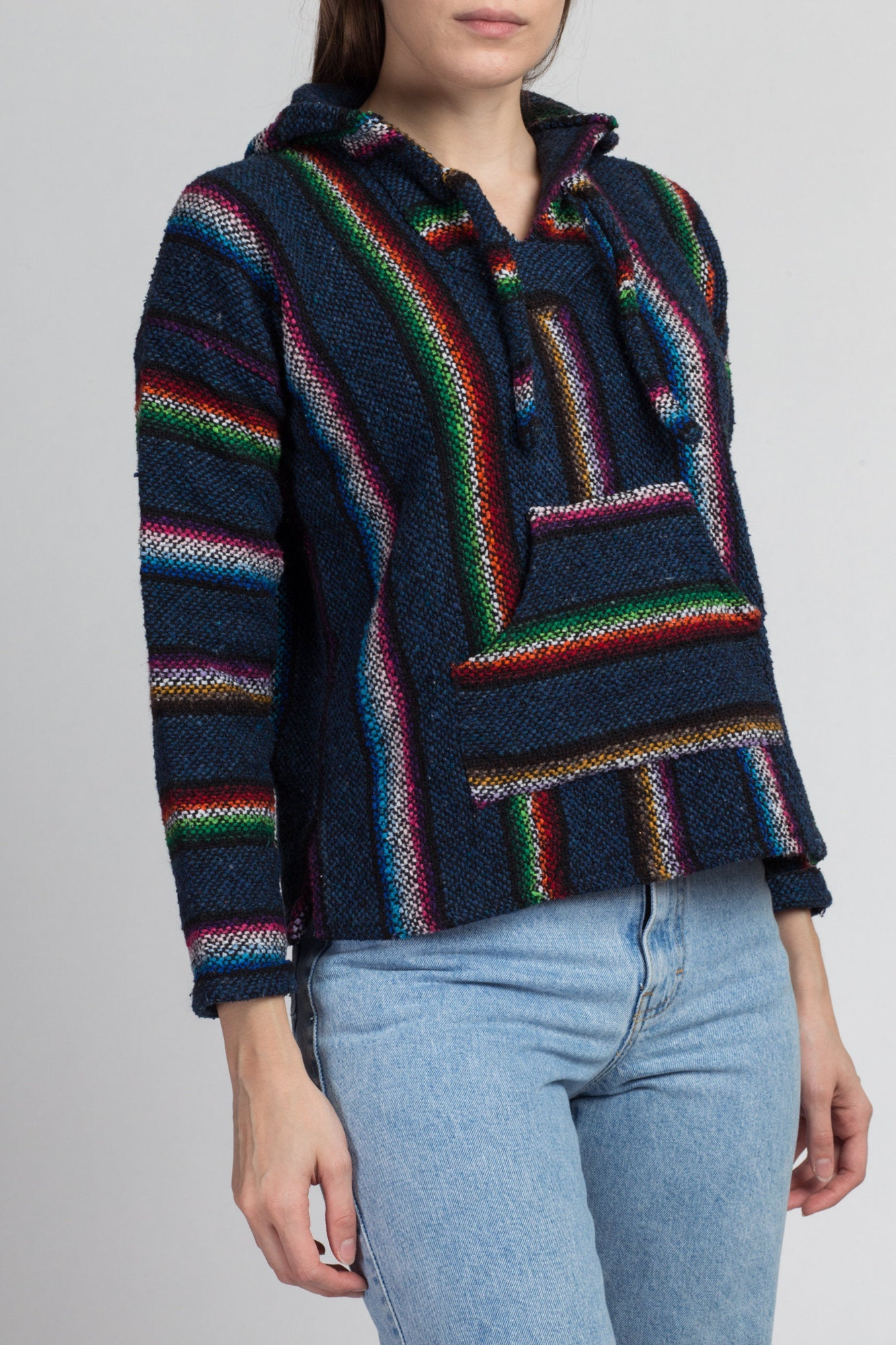 90s Rainbow Striped Drug Rug Hoodie - Small