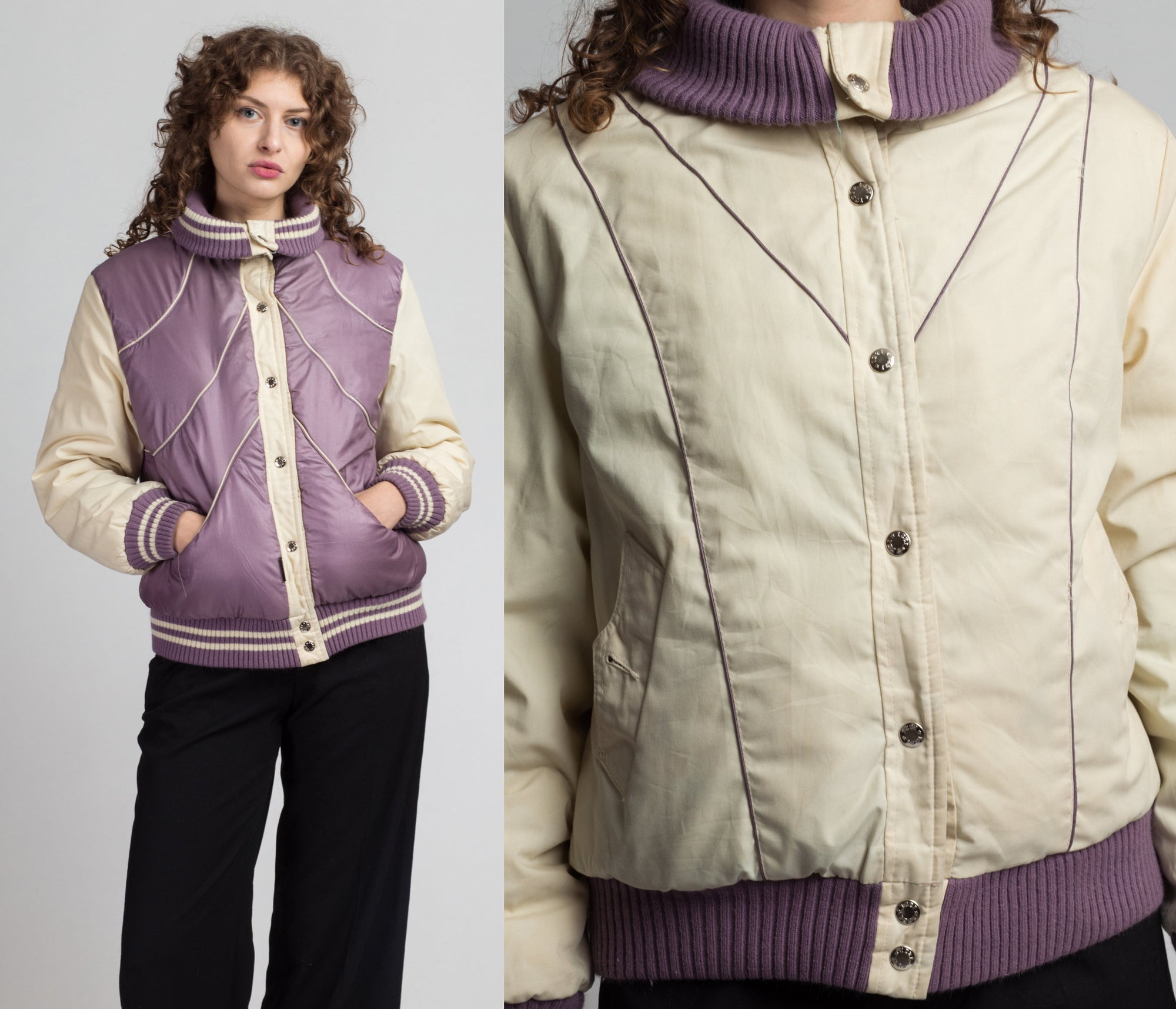 80s Reversible Puffy Bomber Jacket - Medium | Vintage Purple White Chevron Striped Winter Ski Coat