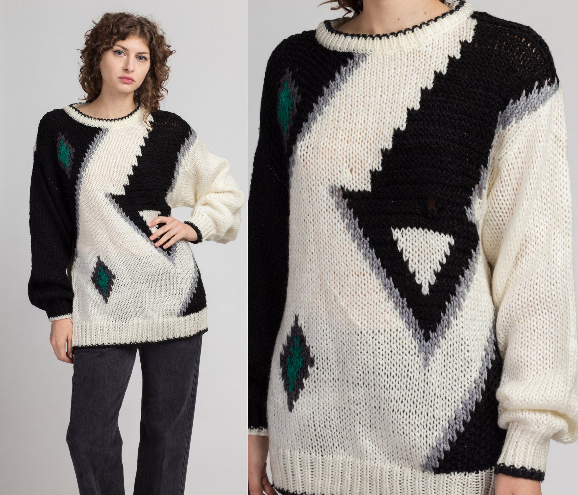80s Slouchy Geometric Knit Sweater - Large | Vintage White Black Pullover Jumper