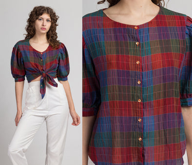 Vintage Plaid Puff Sleeve Blouse - Large | 70s 80s Campus Casuals Half Sleeve Top