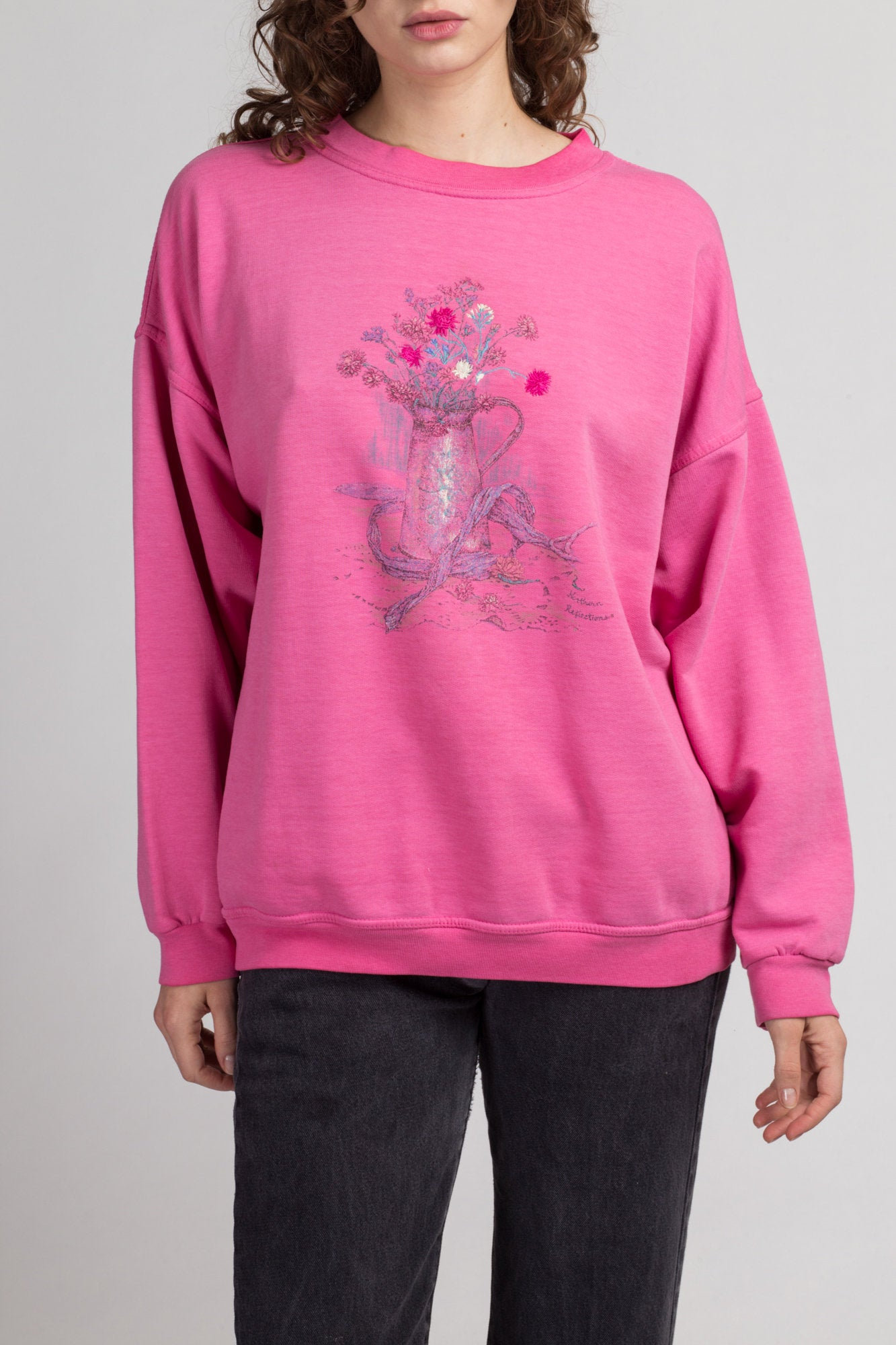 90s Pink Vase & Flowers Sweatshirt - Extra Large | Vintage Floral Long Sleeve Graphic Top