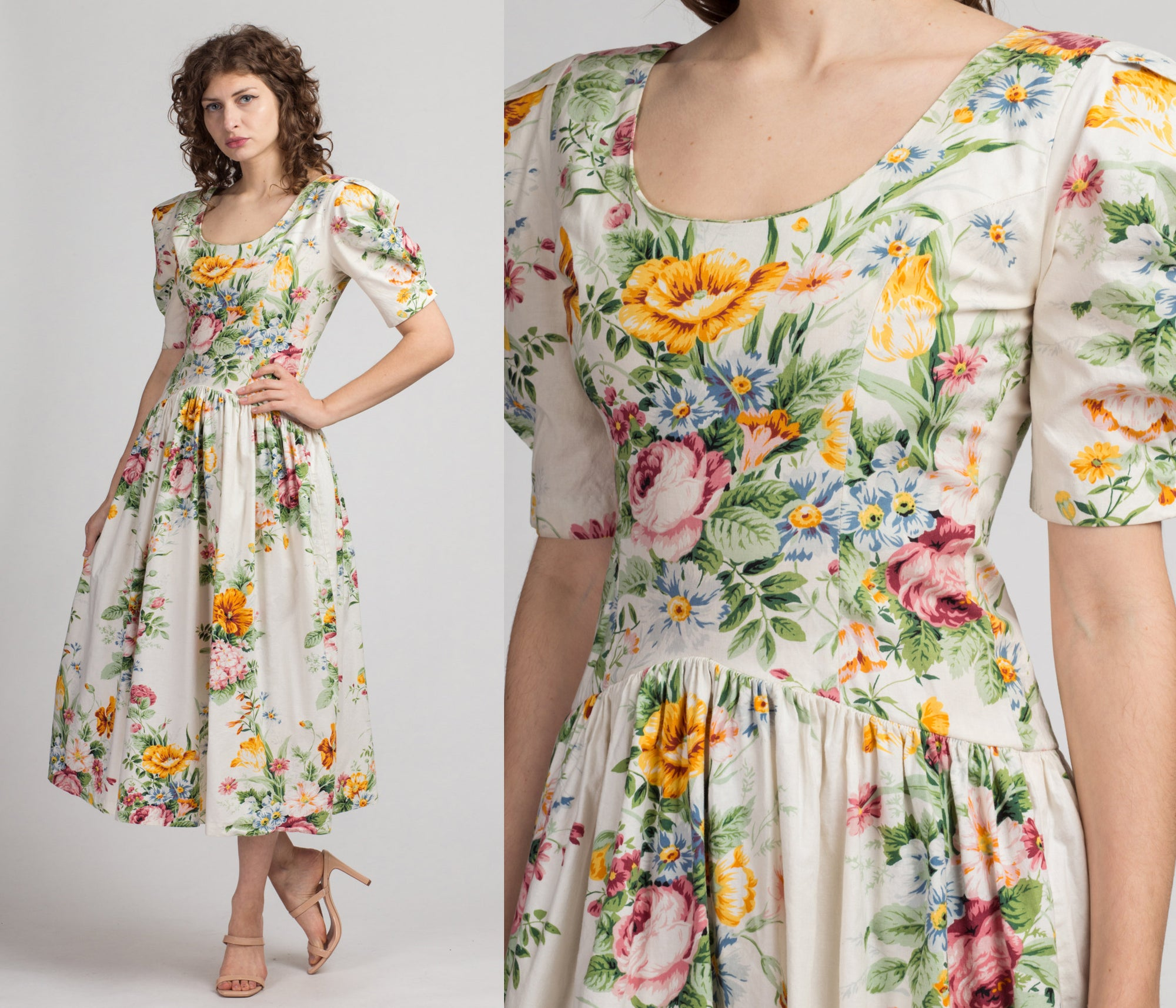 80s Ivory Rose Puff Sleeve Dress - Medium | Vintage Boho Floral Drop Waist Maxi Dress