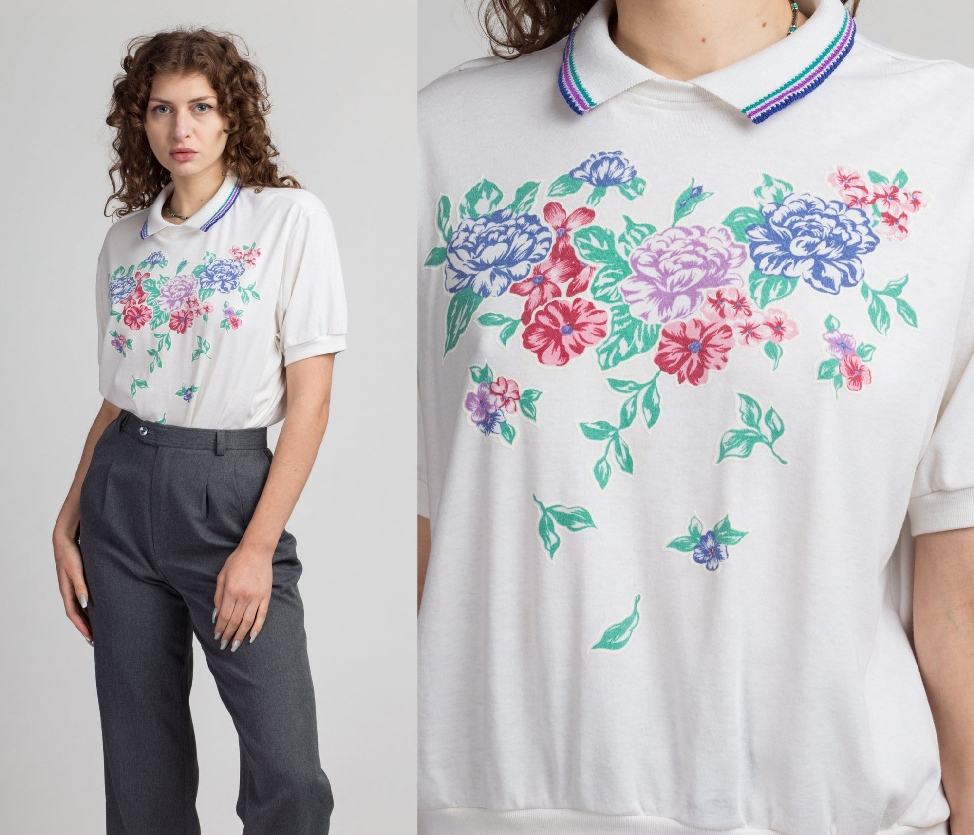 80s Floral Collared Polo Top - Large | Vintage White Graphic Pullover