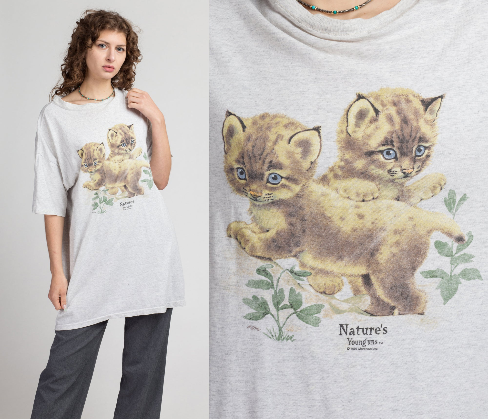 90s Kitten Graphic T Shirt - One Size | Vintage Cat Lover Grey Oversize Animal Tee