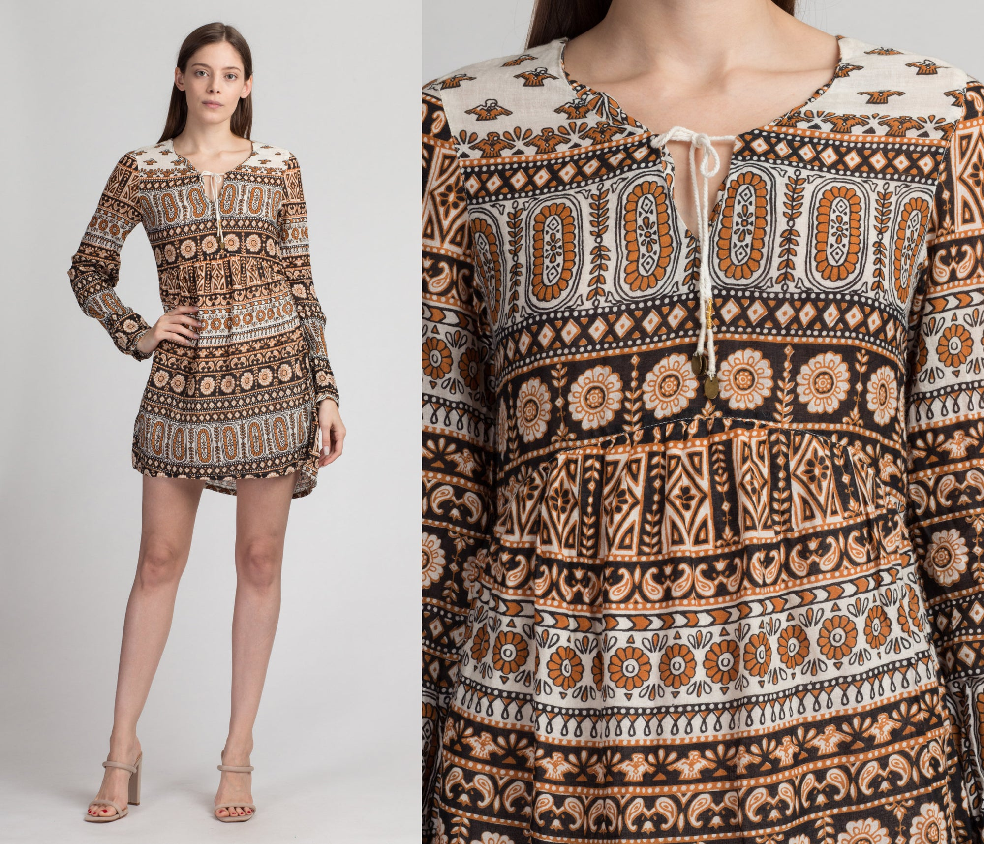 Boho Abstract Print High-Low Mini Dress - Small | Vintage Hippie Gauzy Long Sleeve Dress