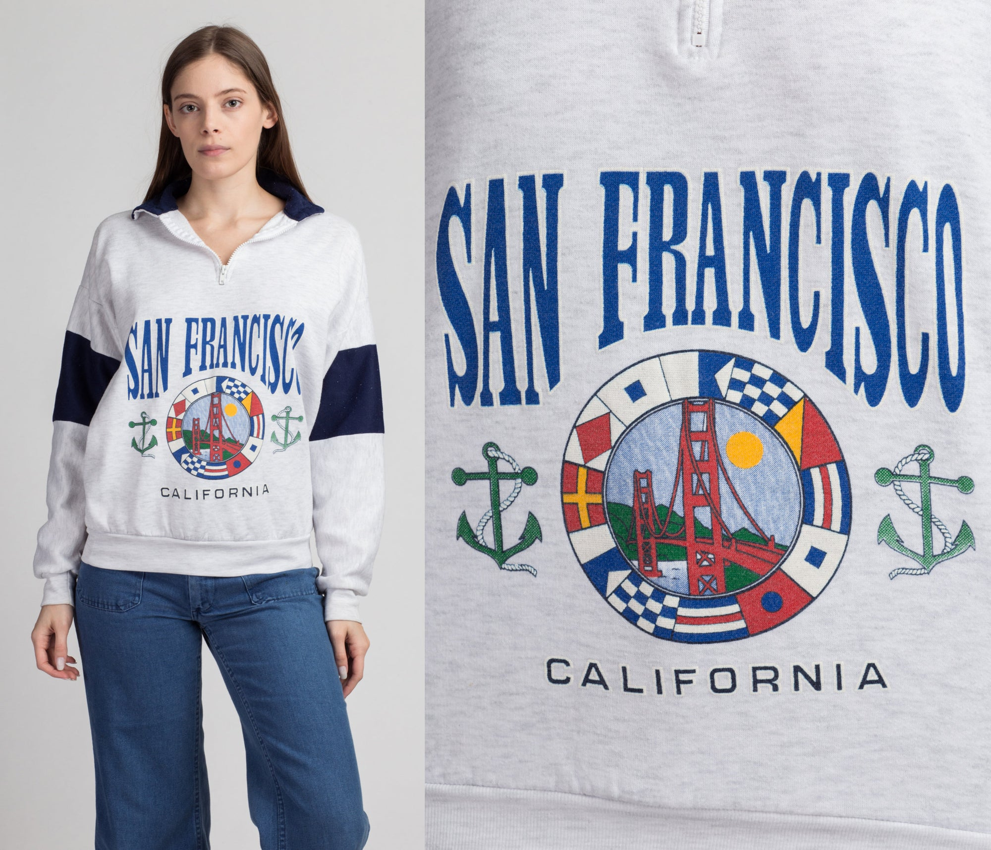 80s 90s San Francisco Sweatshirt - Men's Medium, Women's Large | Vintage Collared Half Zip Tourist Pullover