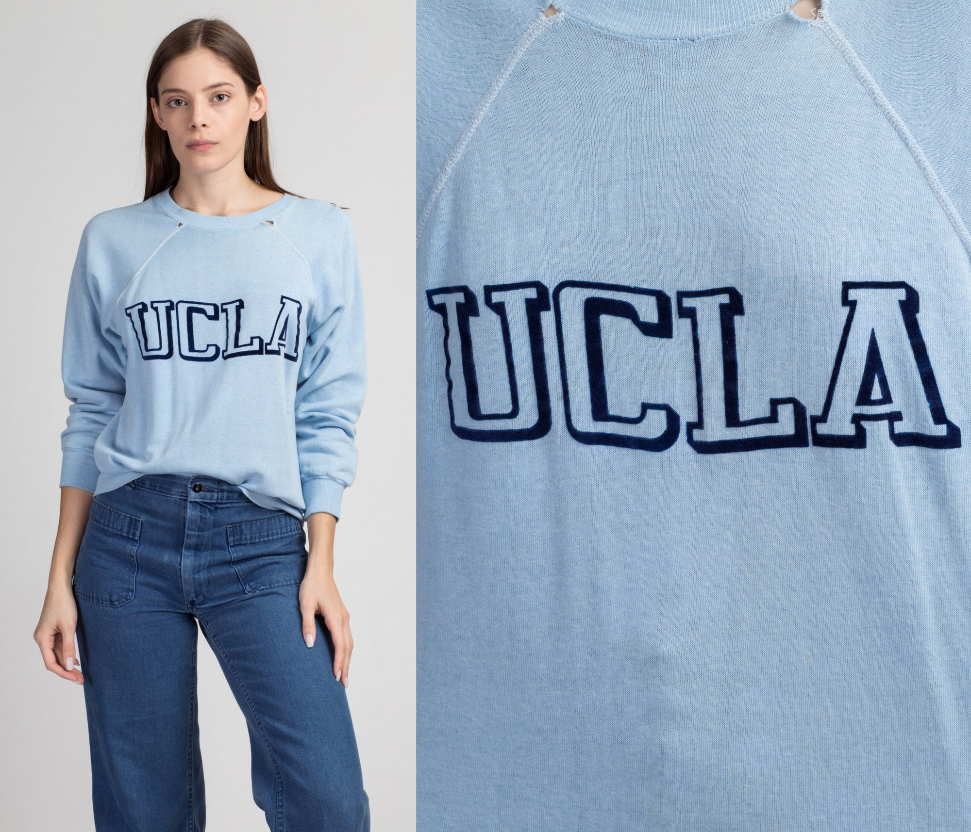 Vintage 70s UCLA Sweatshirt - Large | Raglan Sleeve Lightweight Blue University Graphic Pullover