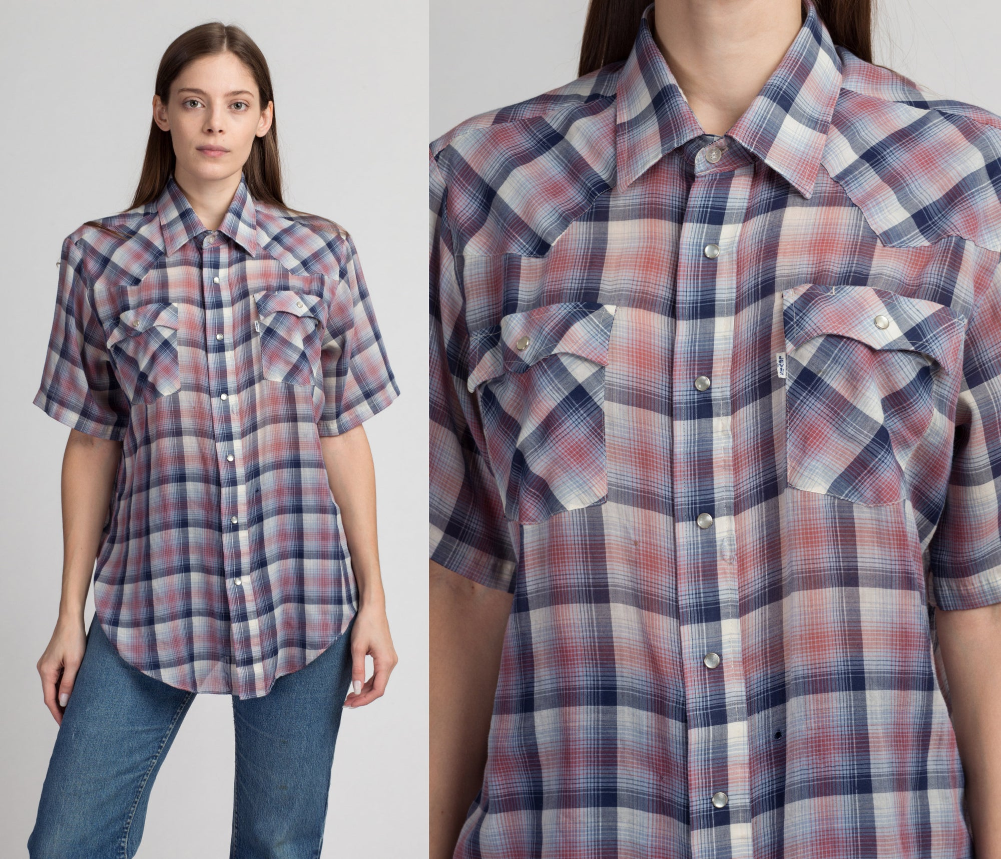 80s Levi's Plaid Pearl Snap Western Shirt - Men's Large | Vintage Short Sleeve Unisex Collared Rockabilly Top