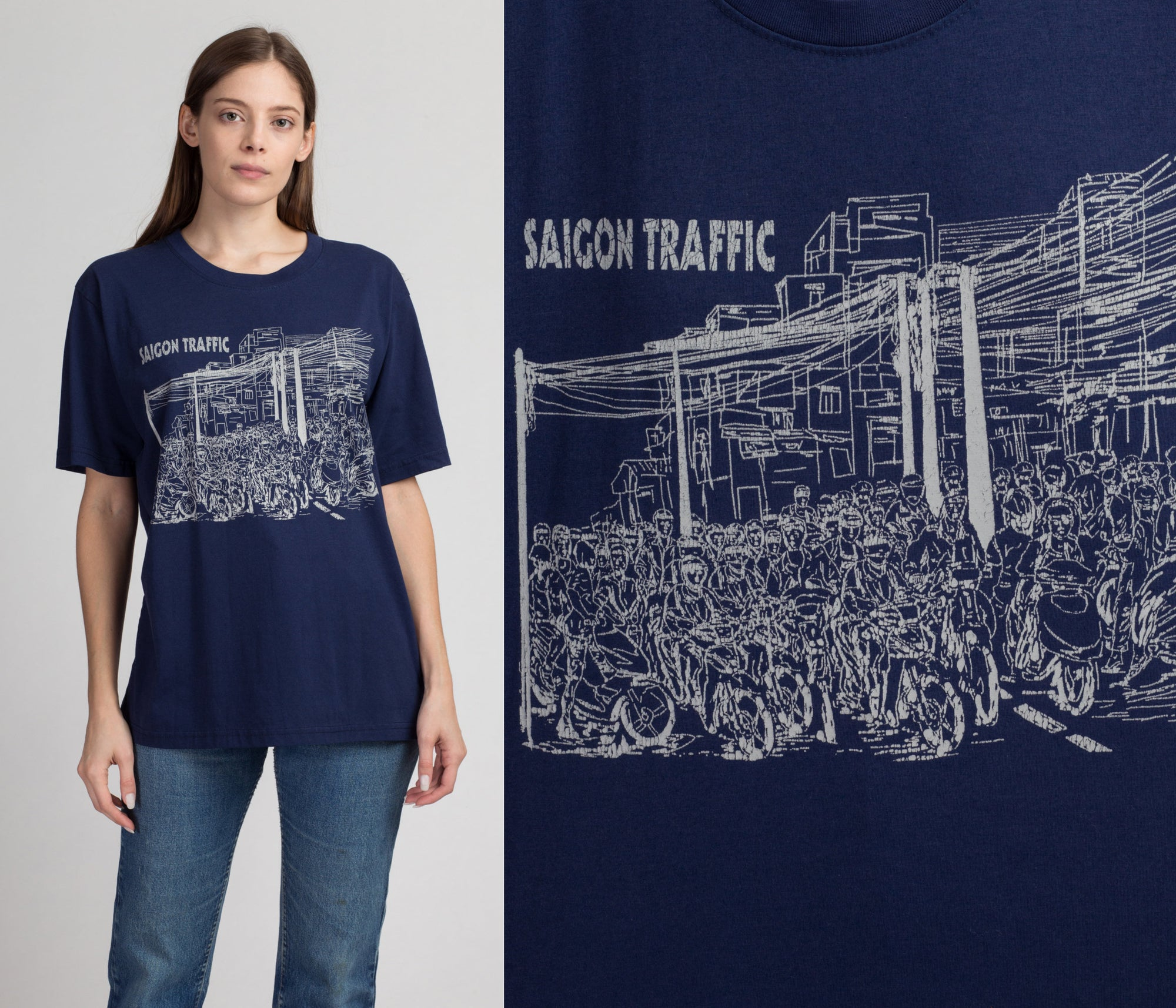 "90s Vietnam ""Saigon Traffic"" Motorbike Tourist T Shirt - Extra Large 