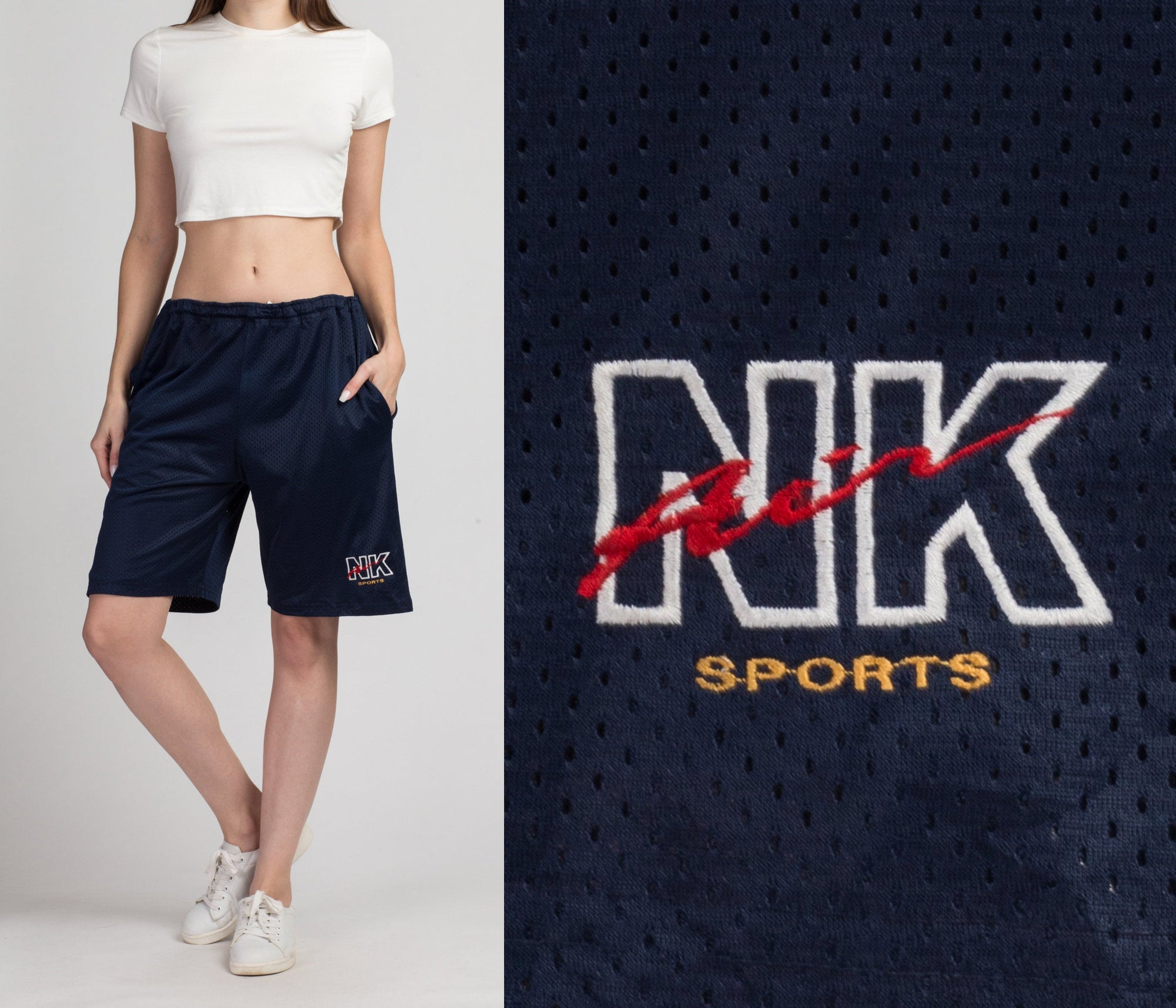 90s NK Air Basketball Shorts - Men's Large | Vintage Blue Unisex Streetwear Athletic Shorts